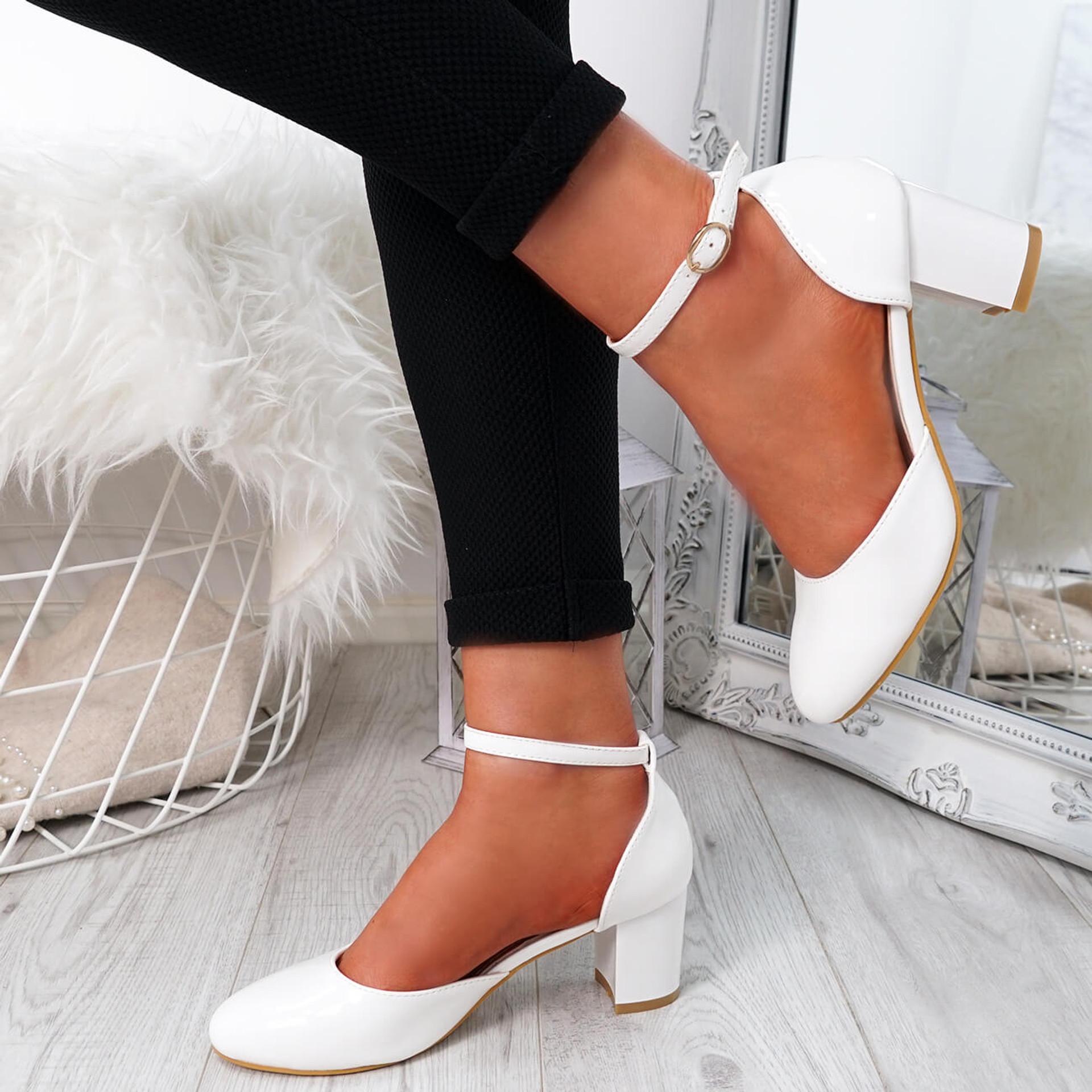 Menda White Ankle Strap Pumps