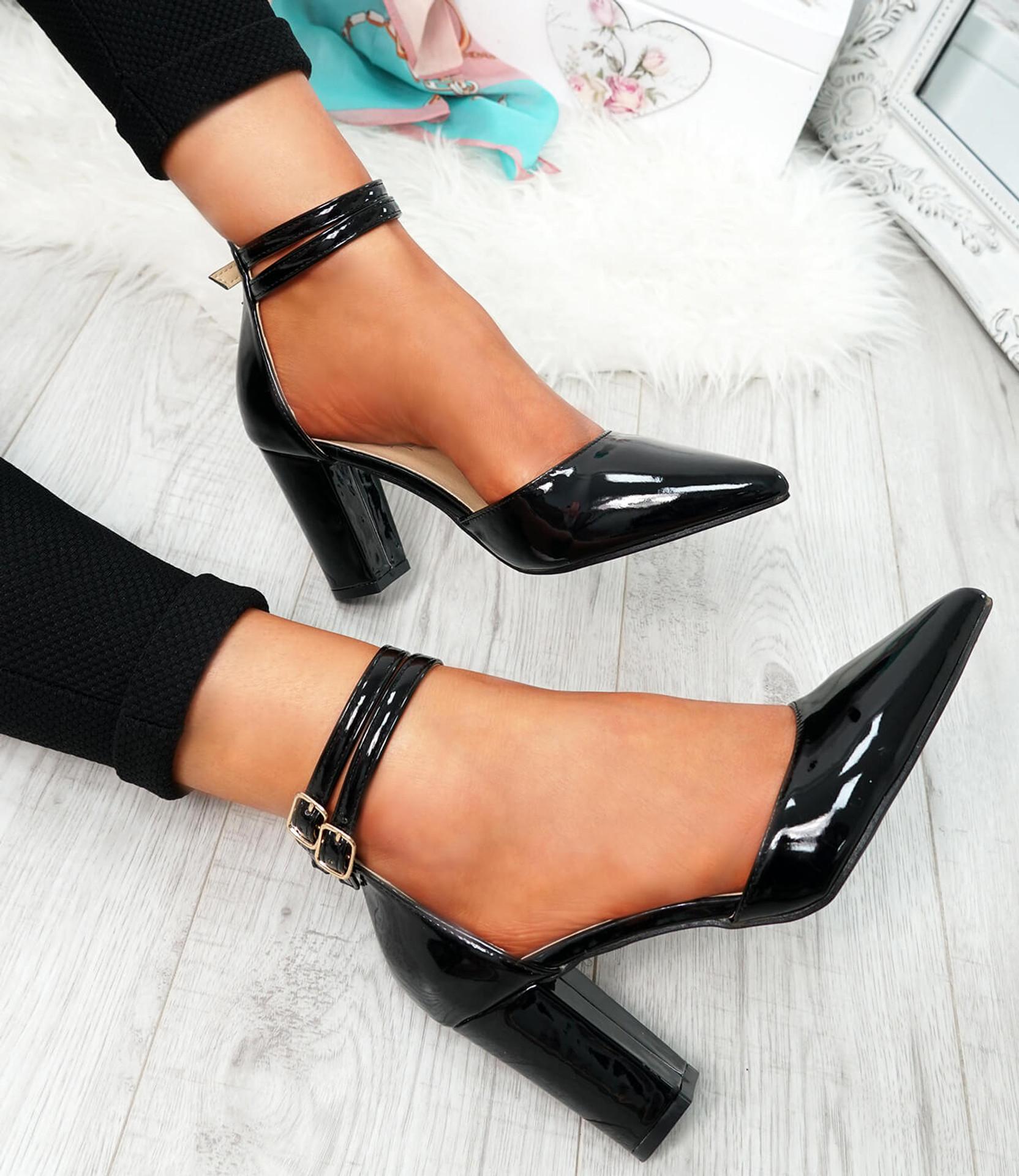 Erram Black Block Heel Pumps