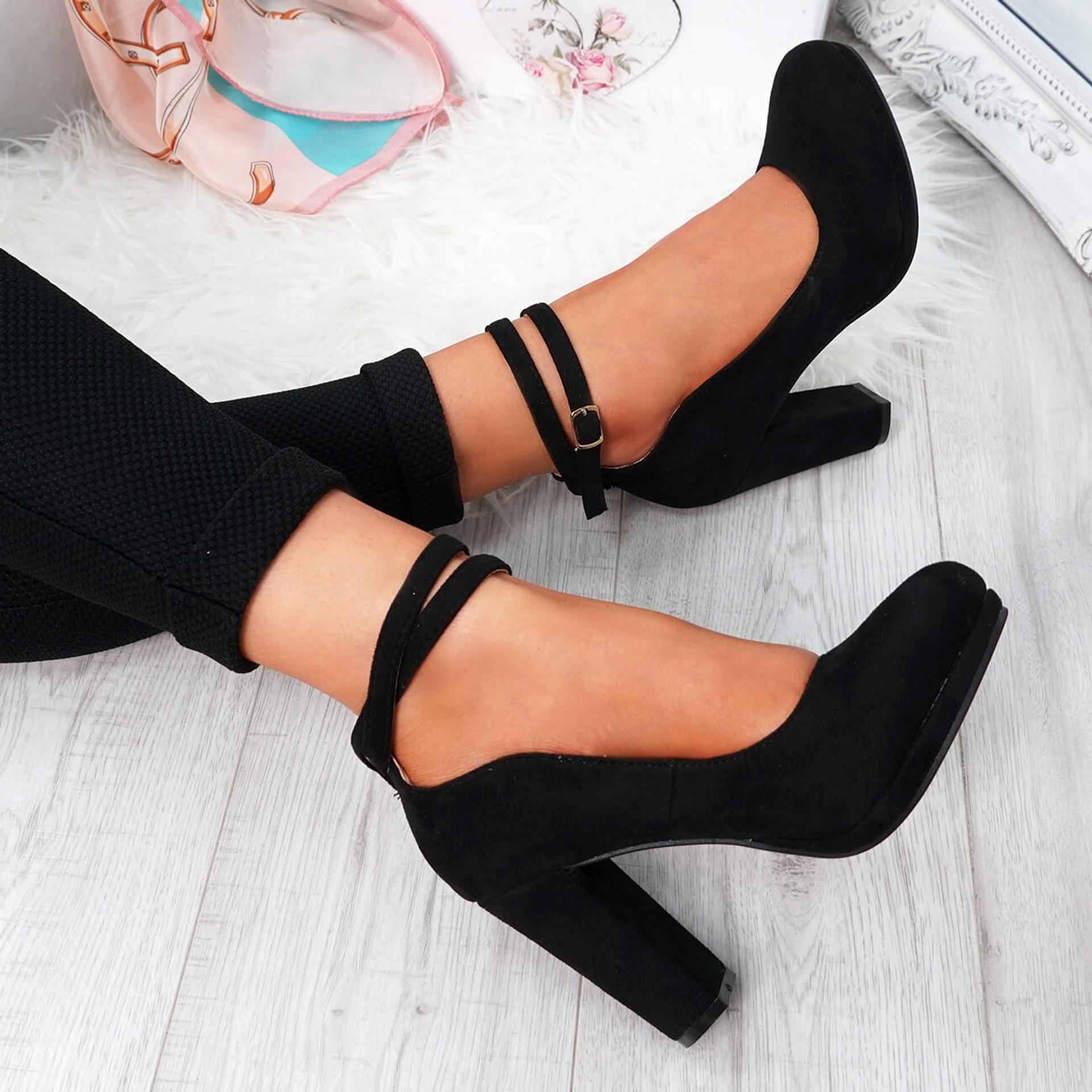 Eby Black Ankle Strap Pumps
