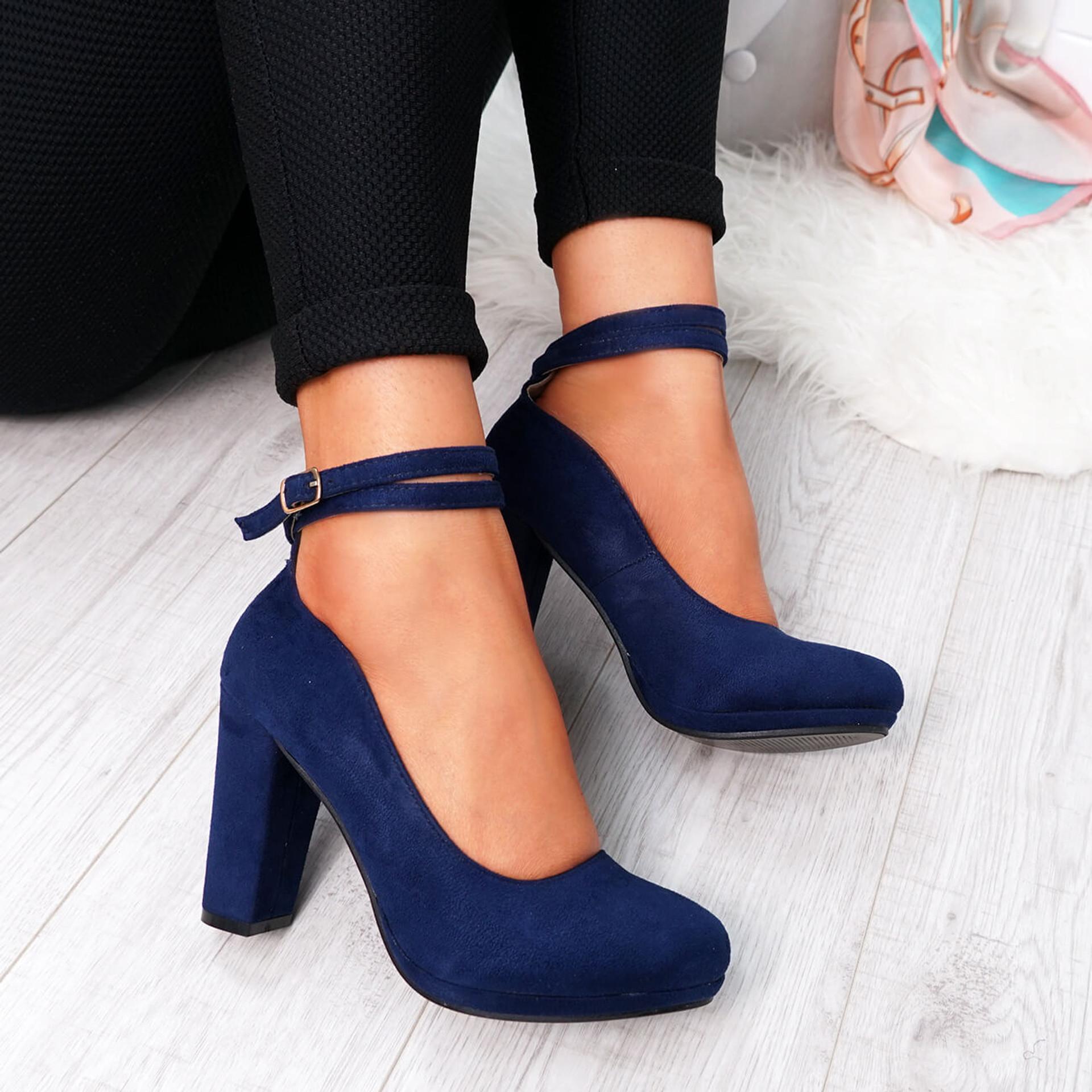 Eby Dark Blue Ankle Strap Pumps