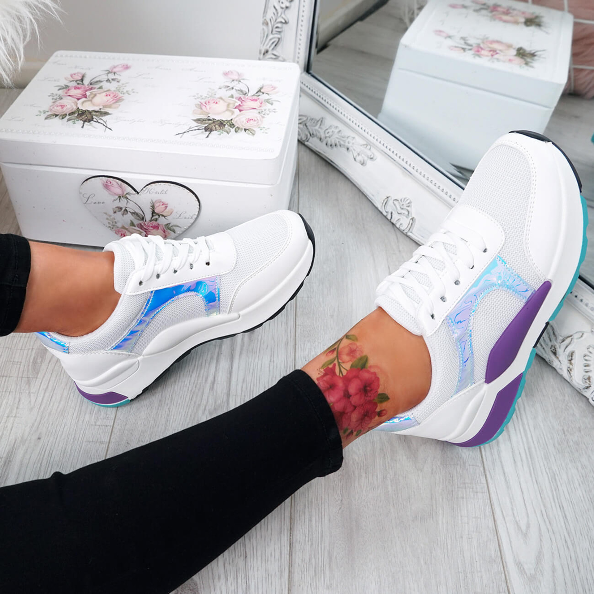 Jarre White Lace Up Trainers