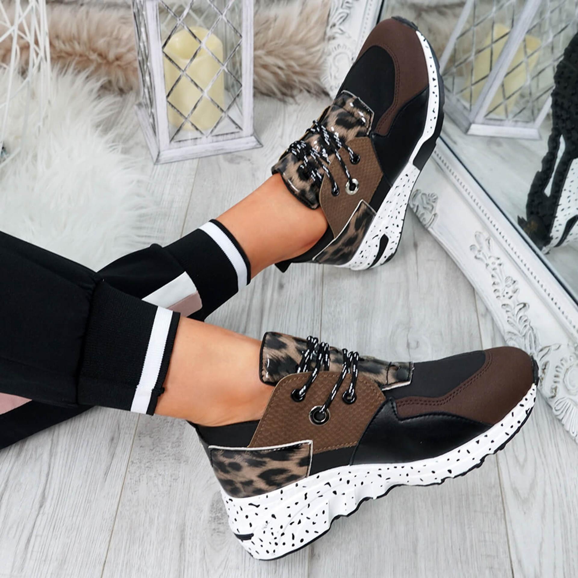 Infa Khaki Leopard Trainers