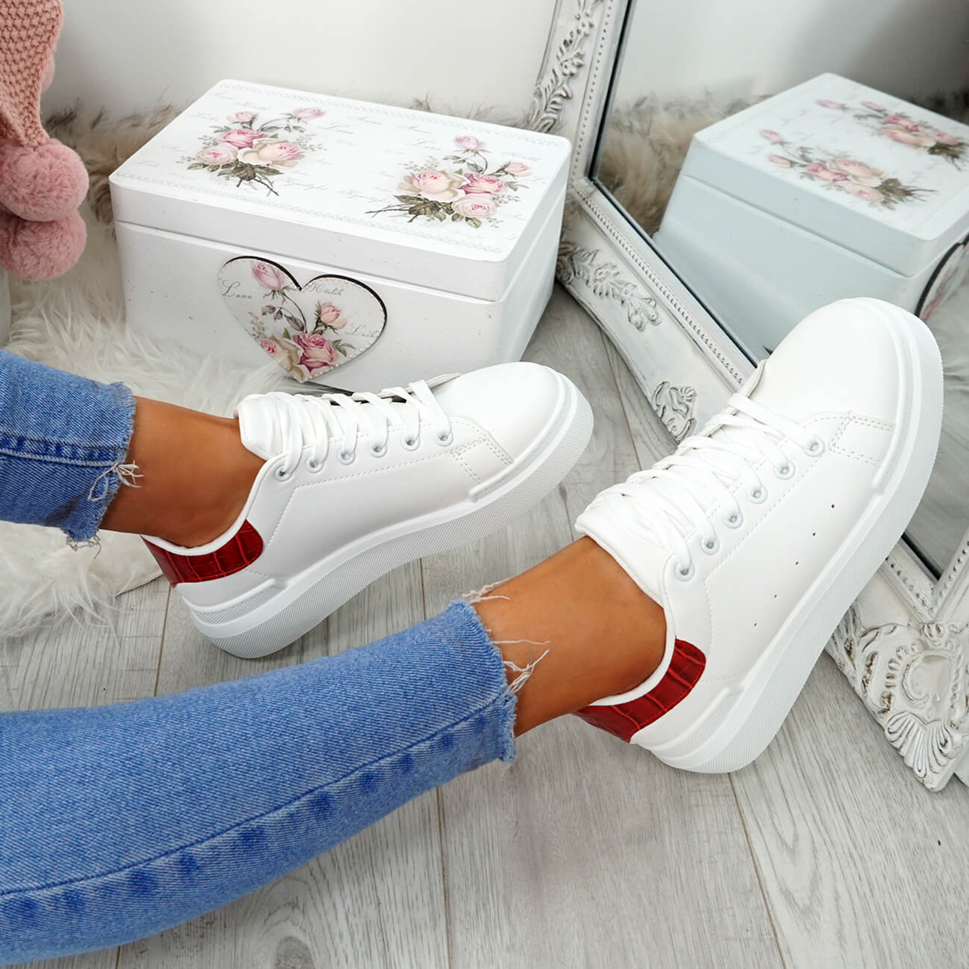 Lynva White Red Croc Trainers