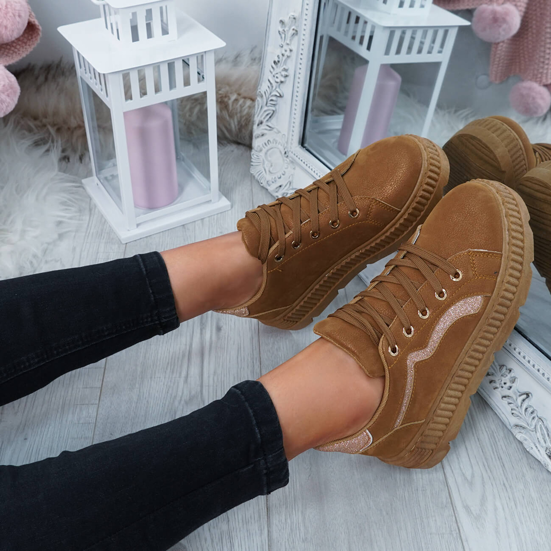 Luda Camel Lace Up Trainers