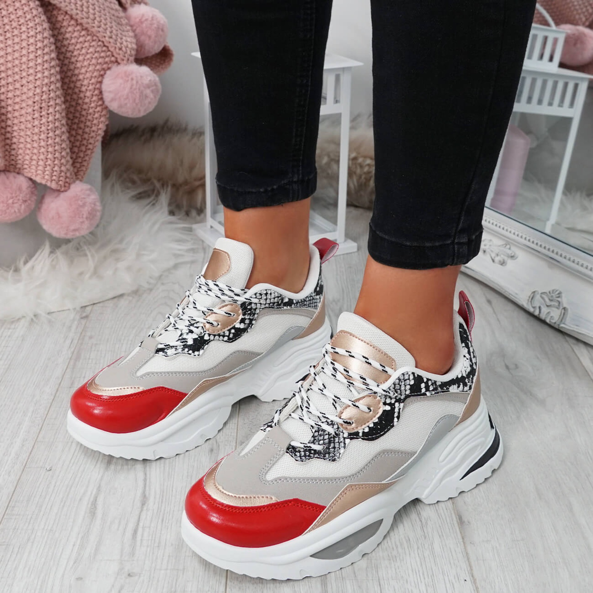 Zena Champagne Lace Up Chunky Trainers