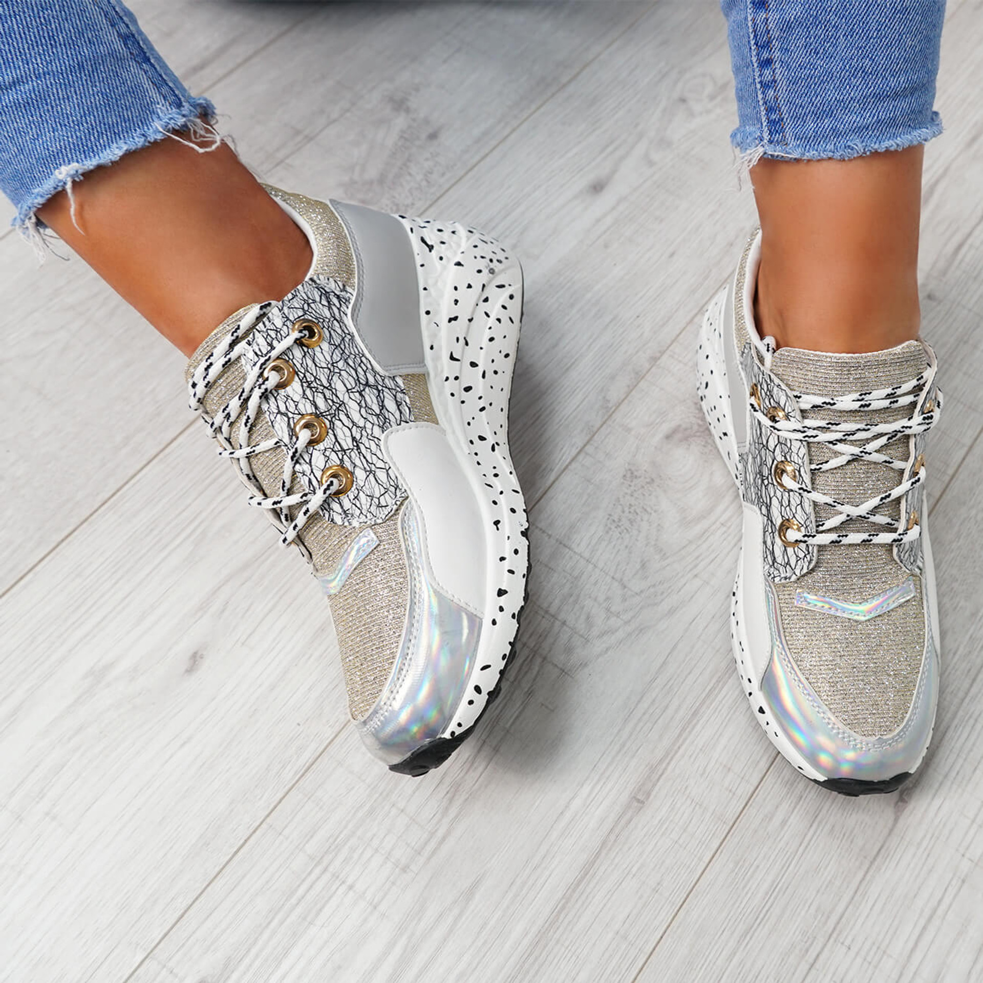 Esora Gold Lace Up Trainers
