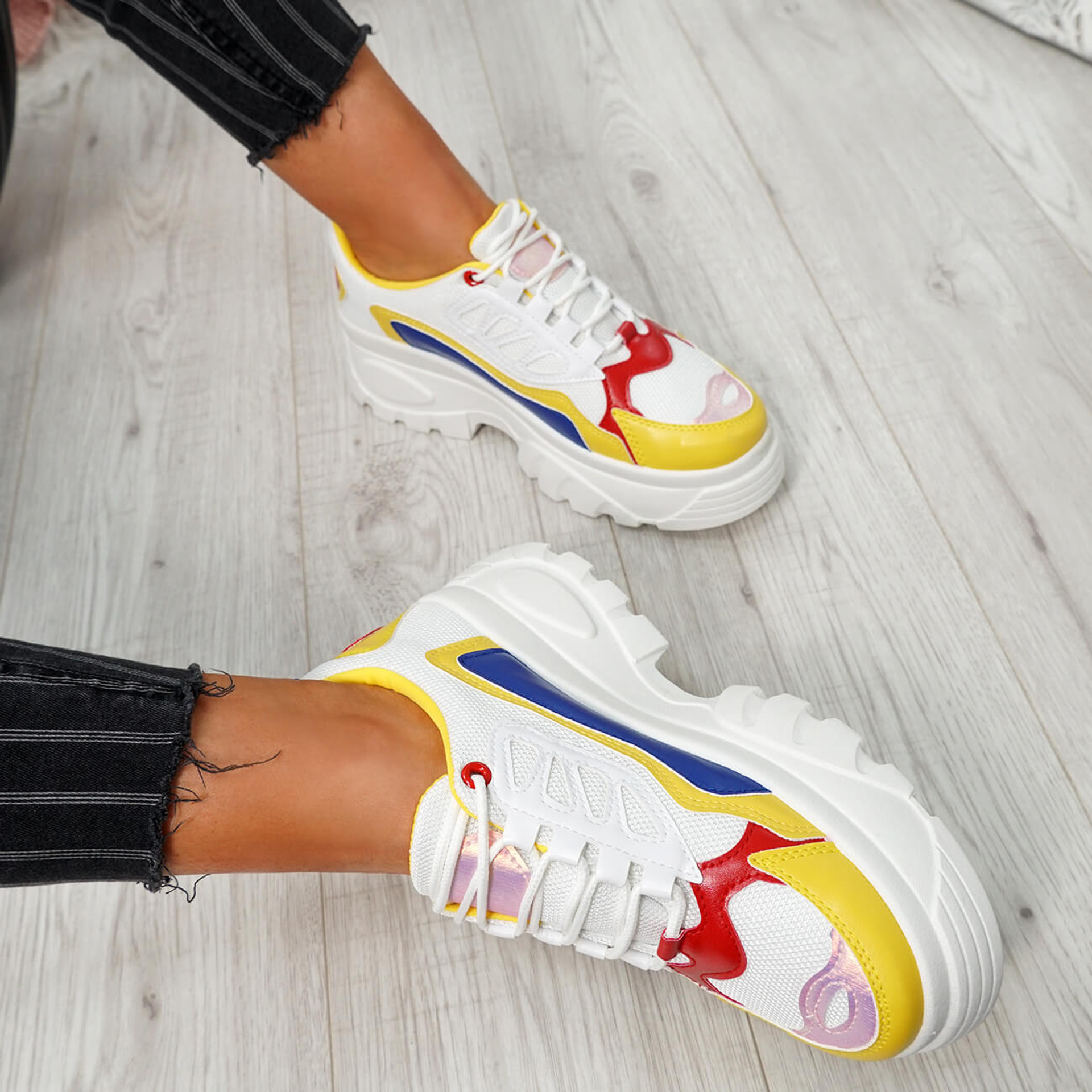 Tefra White Yellow Chunky Trainers