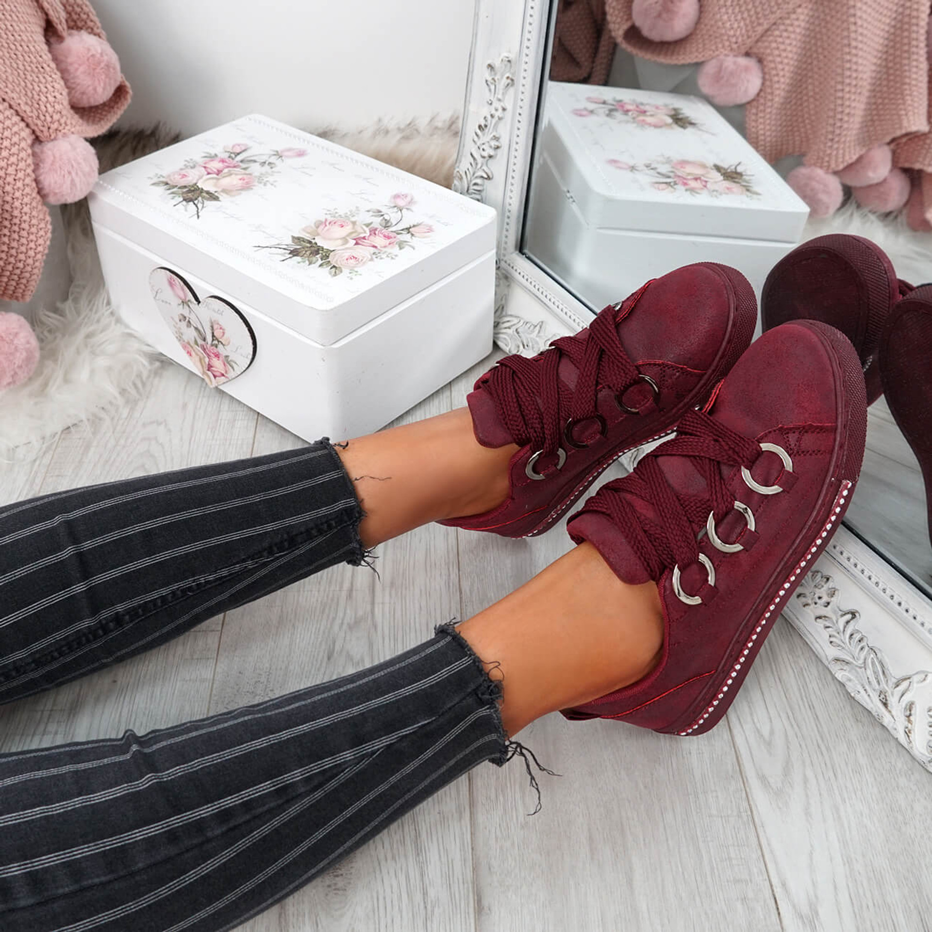 Lutte Wine Red Lace Up Trainers