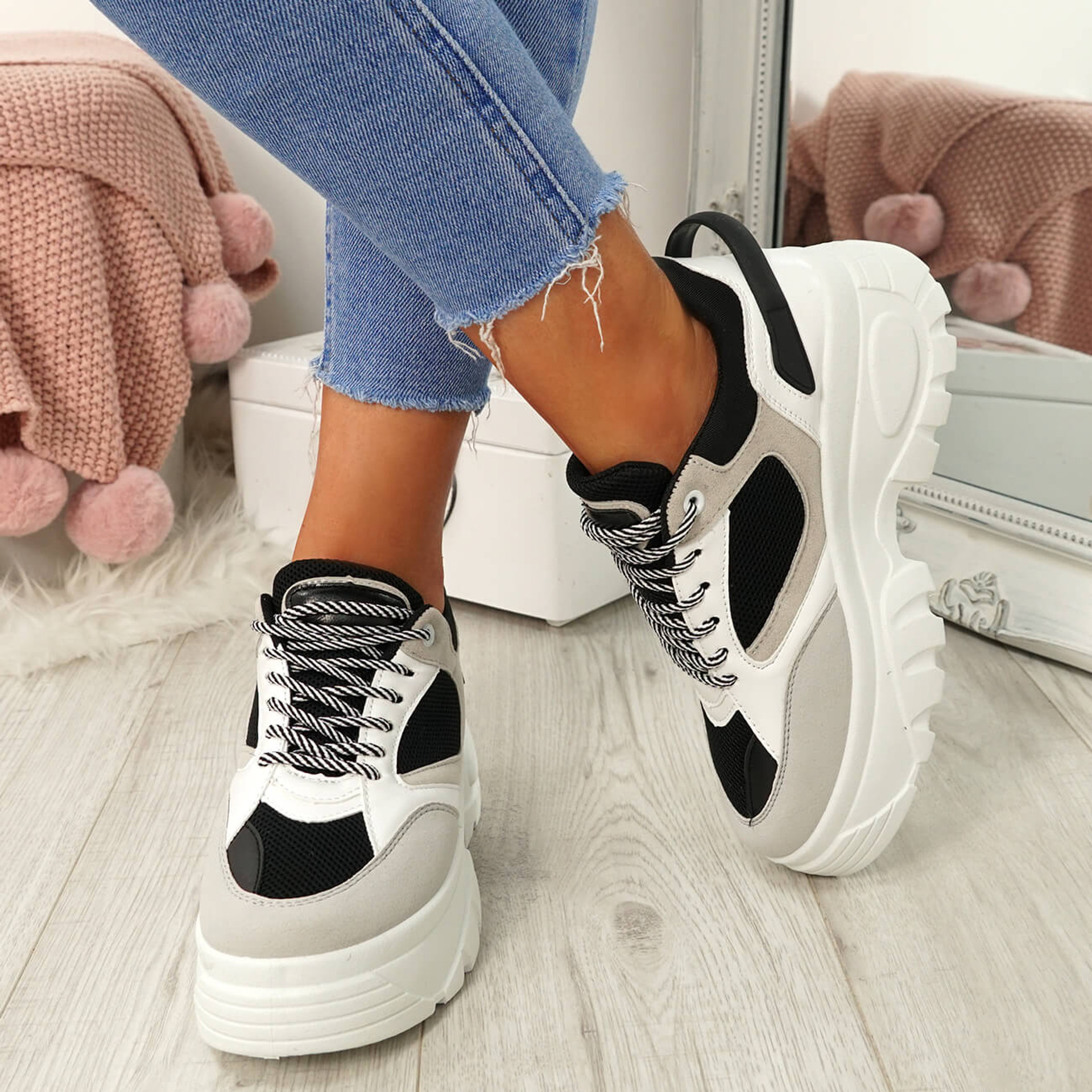 Ira Black Lace Up Chunky Sneakers