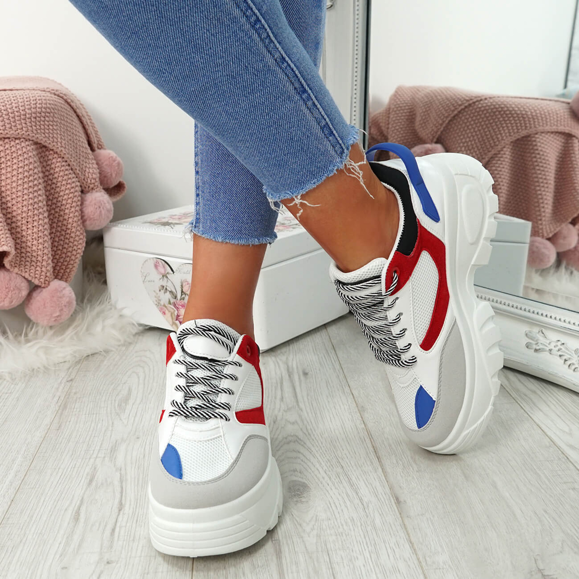 Ira Red Lace Up Chunky Sneakers