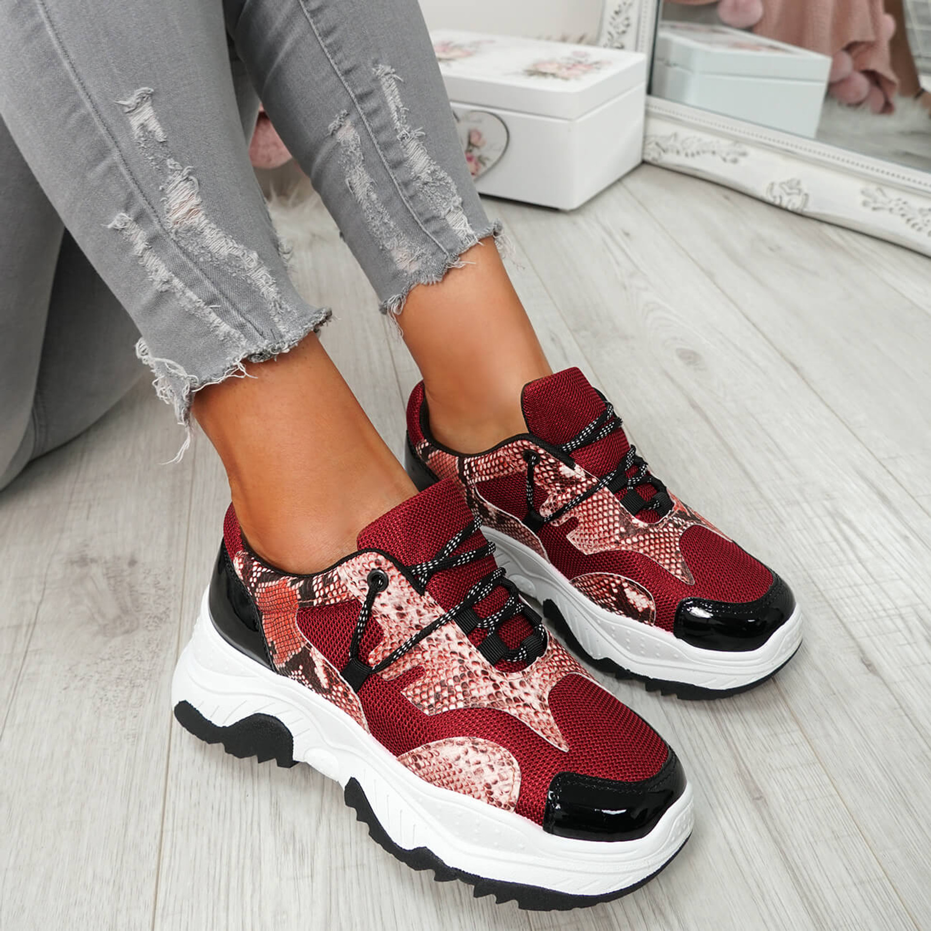 Frozze Red Snake Chunky Trainers