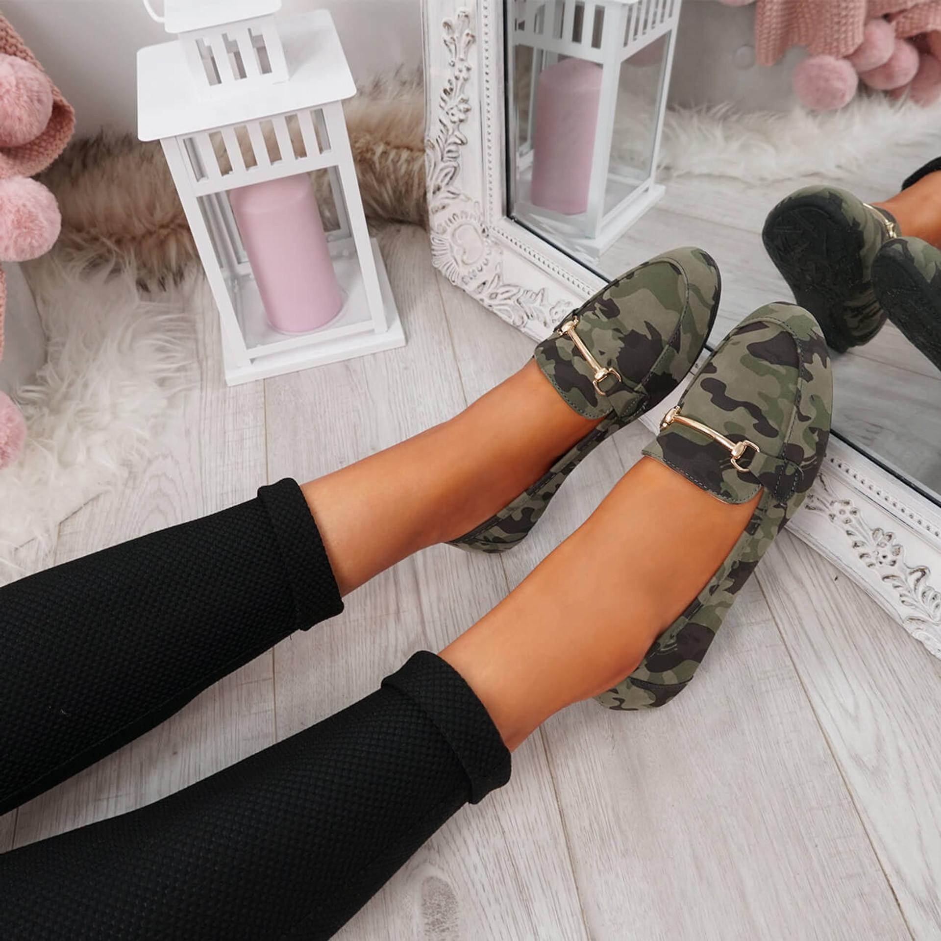 Amma Camouflage Slip On Ballerinas