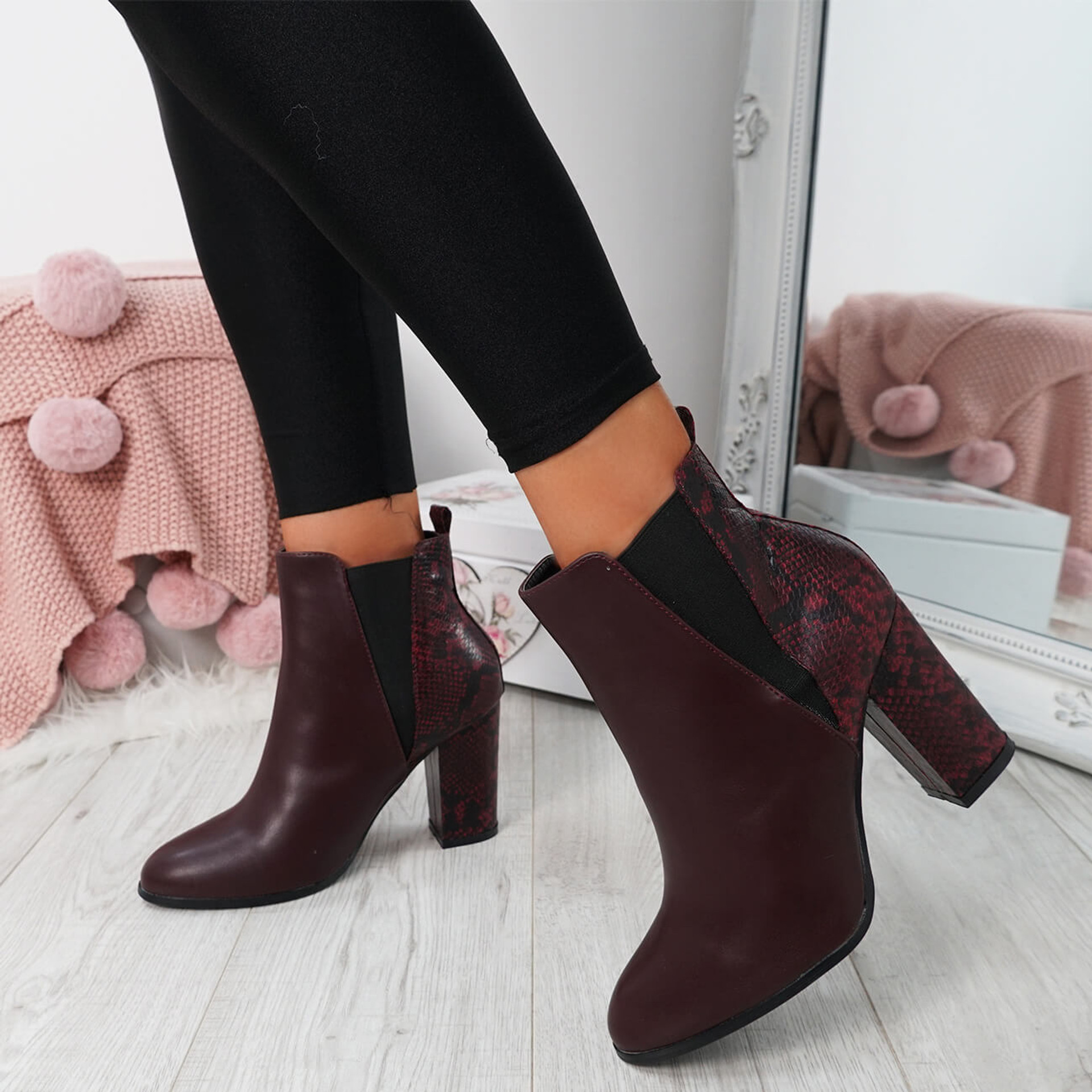 Bedda Red Chelsea Ankle Boots