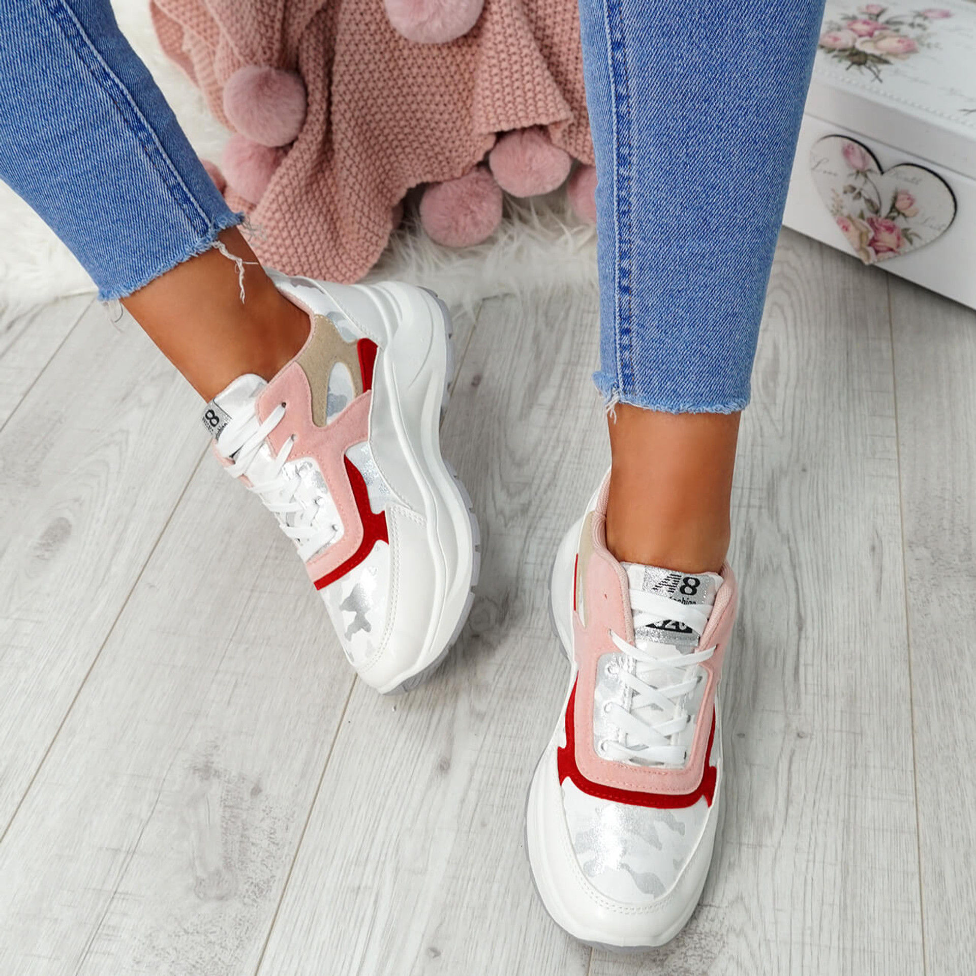 Nicolle White Lace Up Platform Trainers