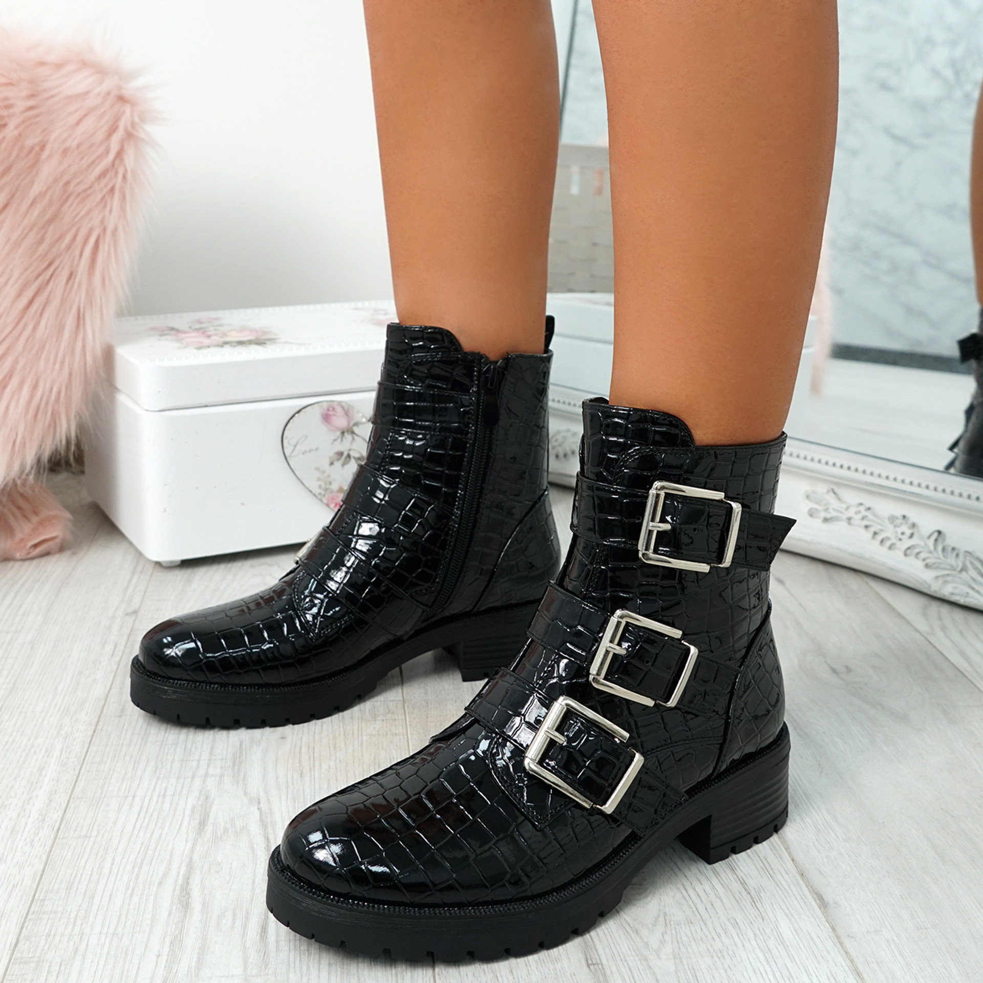 Enta Black Biker Ankle Boots