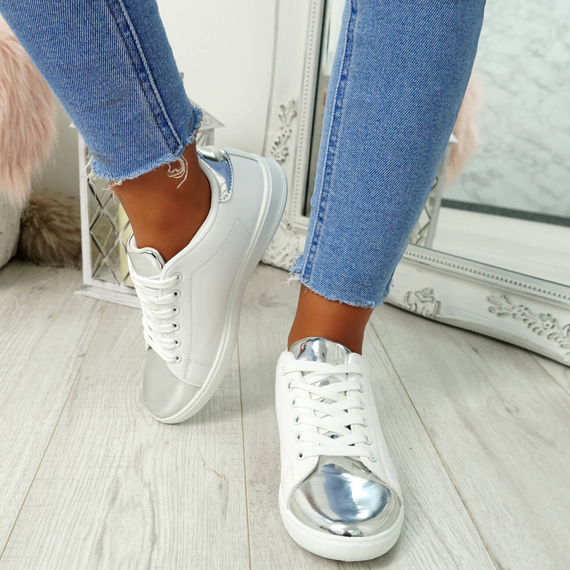 Ansy Silver Lace Up Trainers