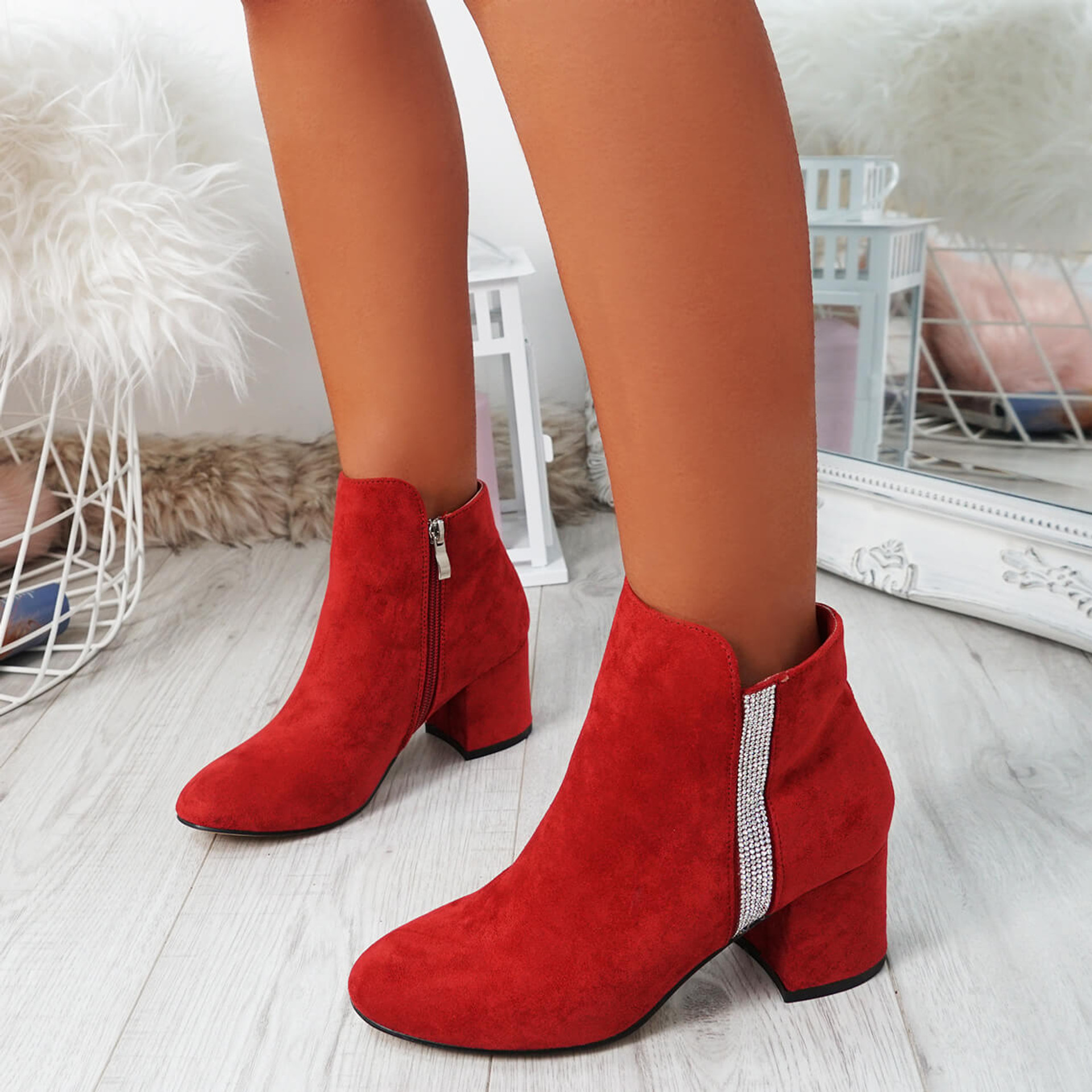 Fedas Red Studded Ankle Boots