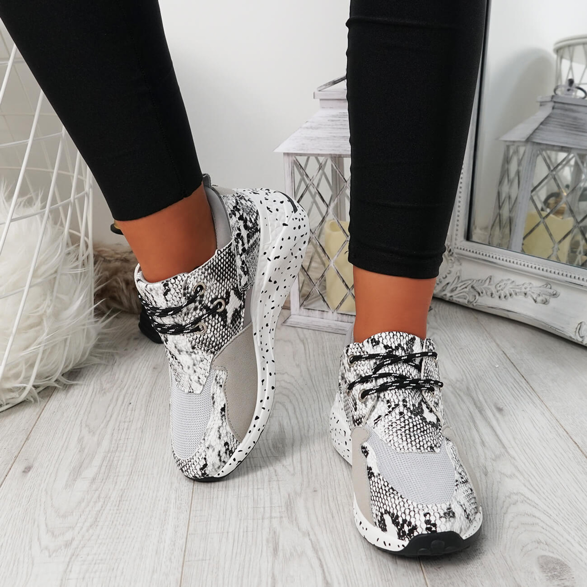 Hema White Lace Up Trainers