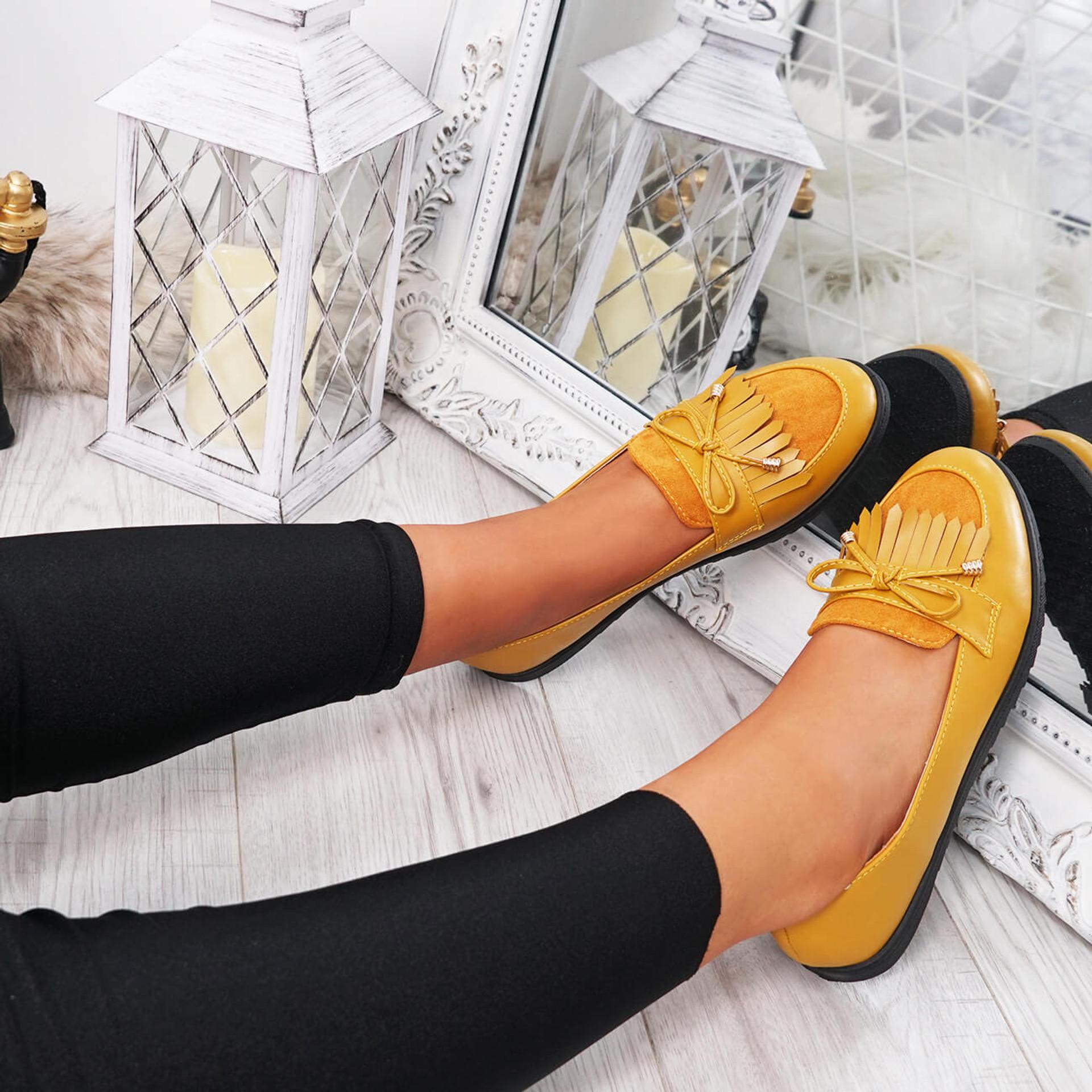 womens yellow fringes ballerinas size uk 3 4 5 6 7 8