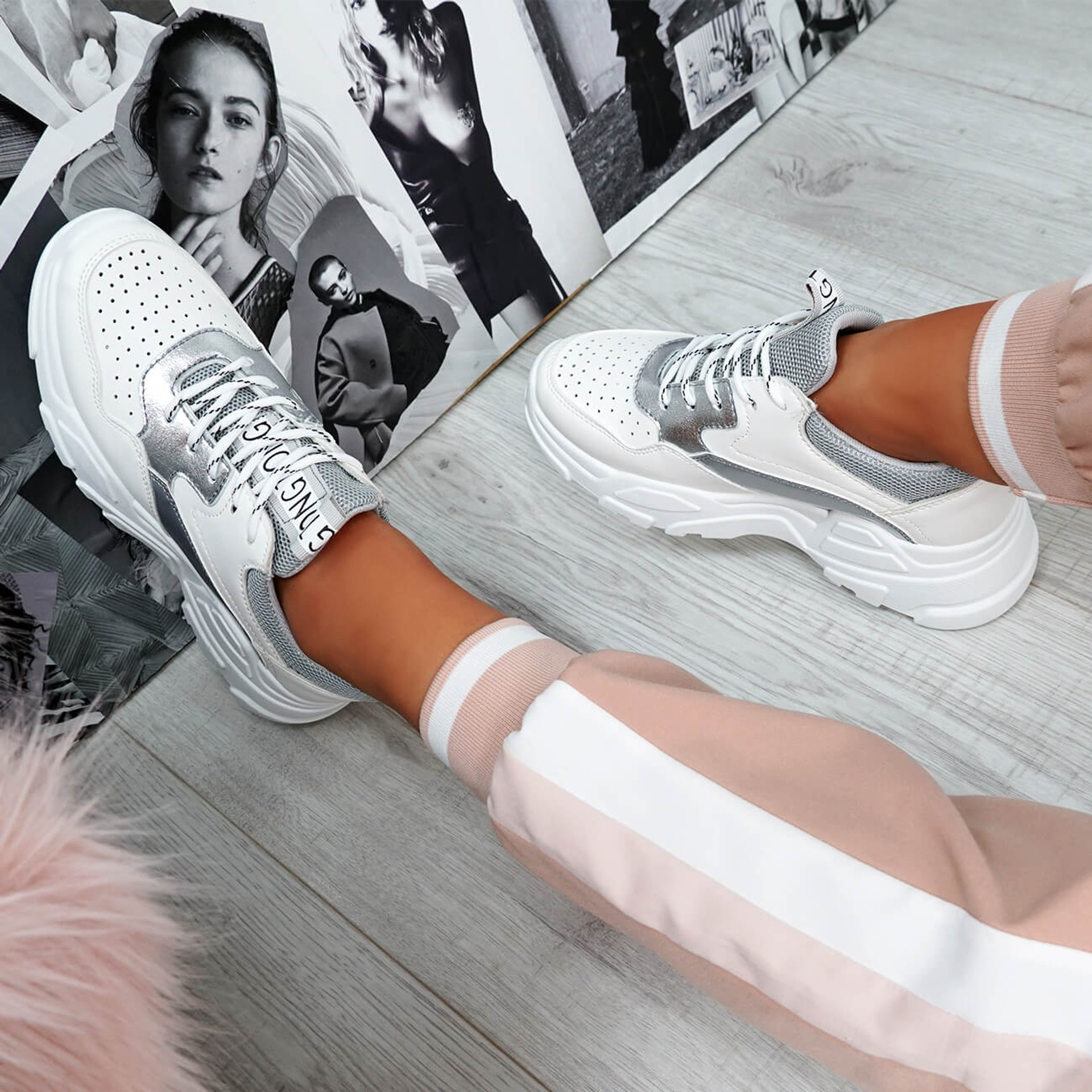 Ollex Grey Chunky Trainers
