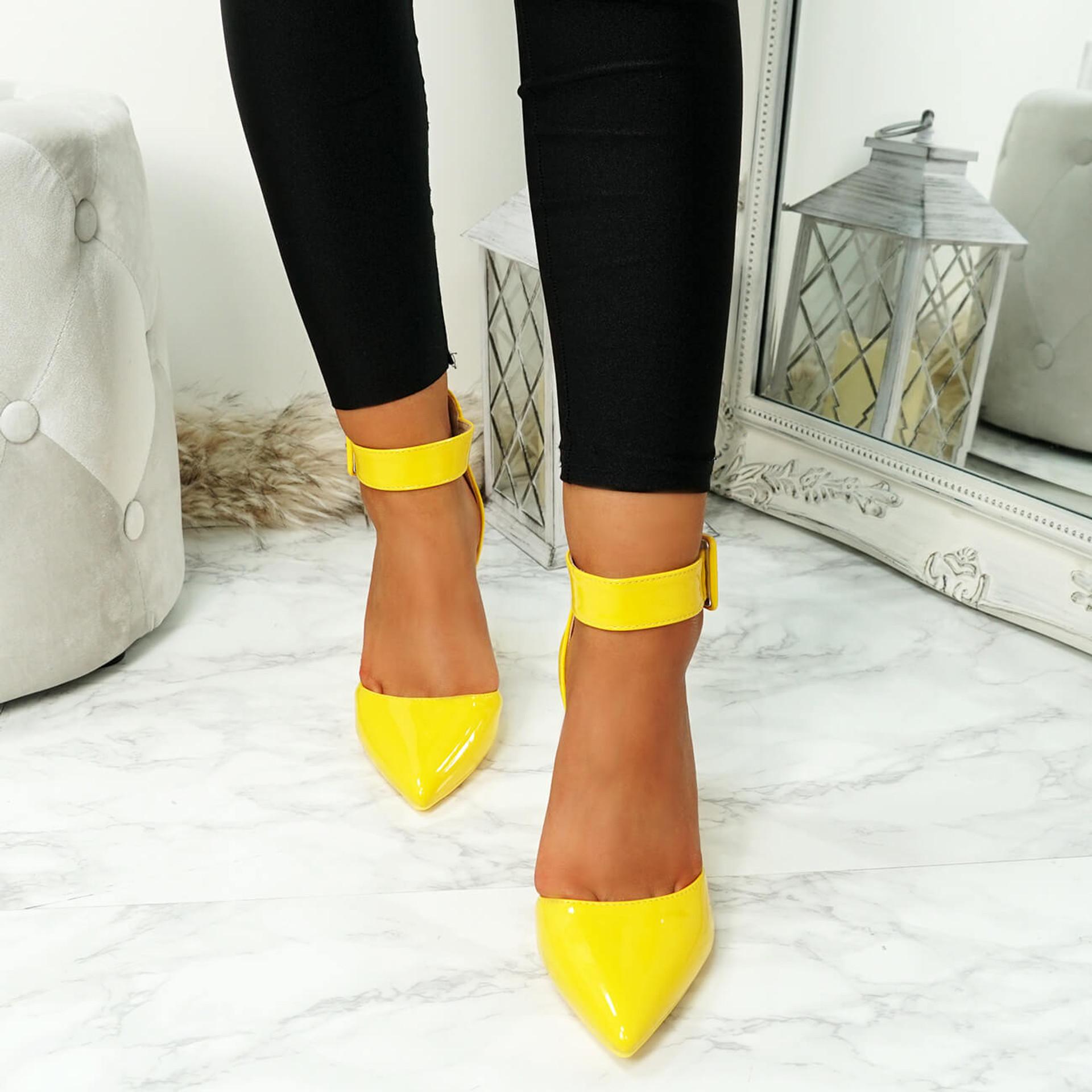 Enna Yellow Pu Block Heel Pumps