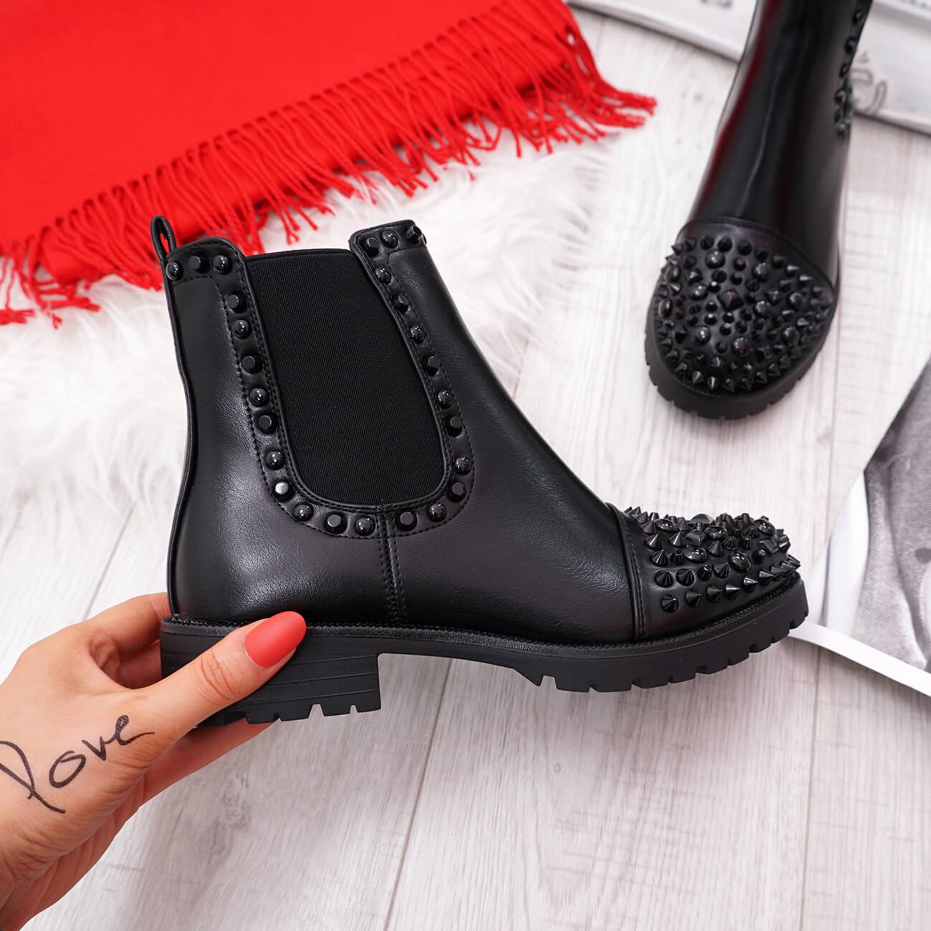 Blerra Black Studded Ankle Boots