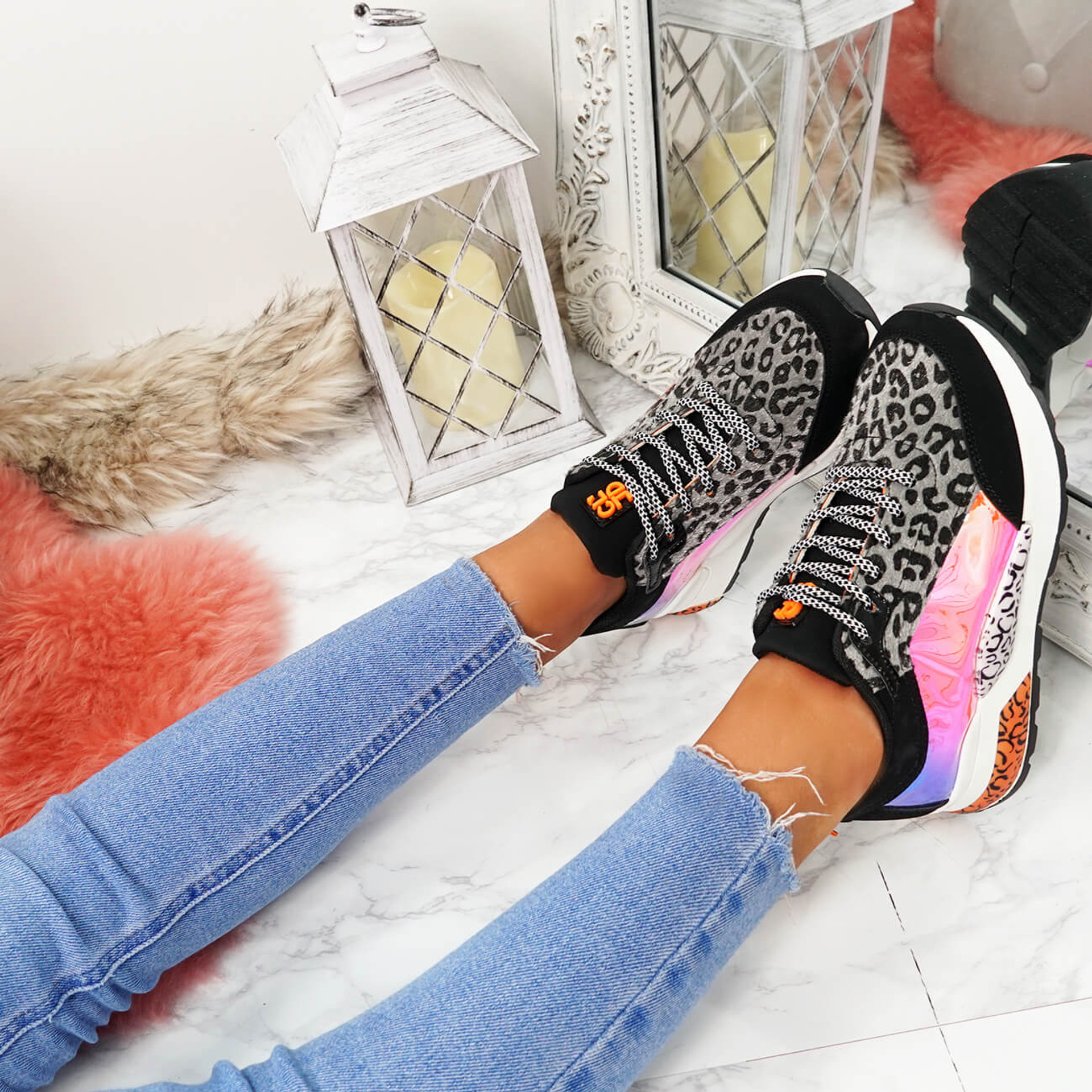 womens grey leopard animal pattern chunky sneakers trainers size uk 3 4 5 6 7 8