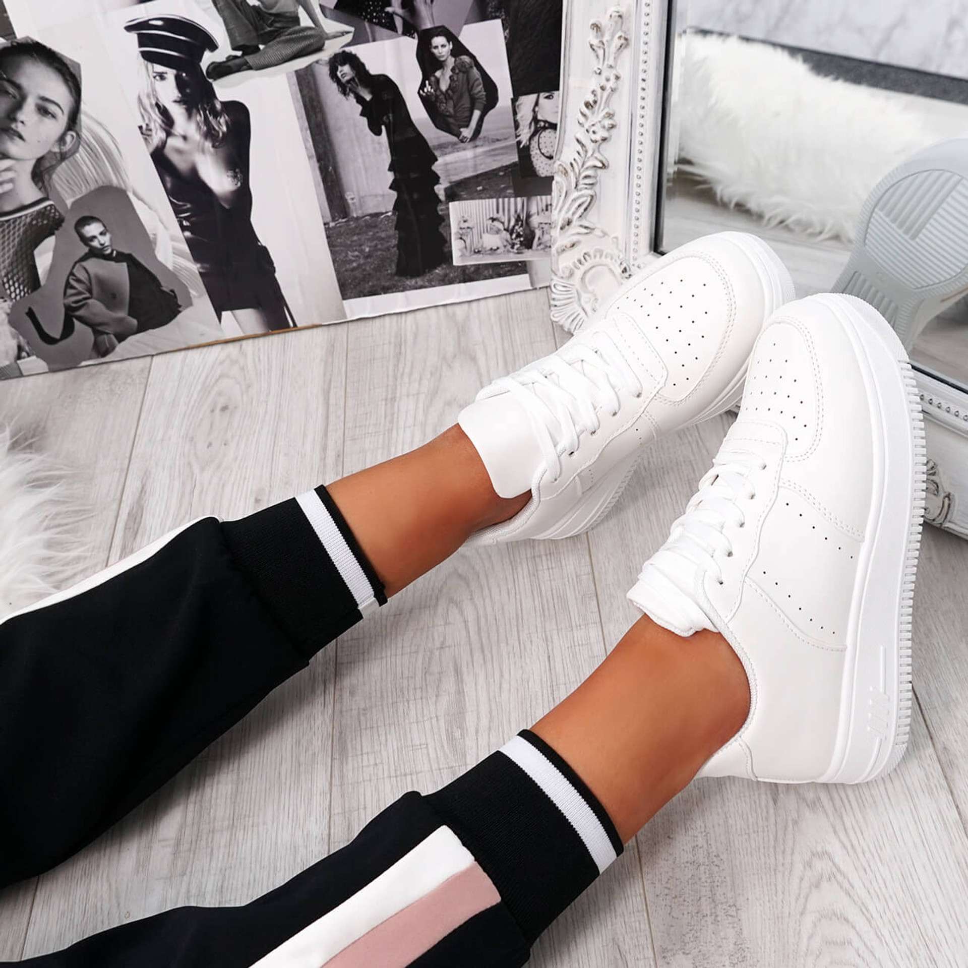womens white lace-up platform trainers sneakers size uk 3 4 5 6 7 8