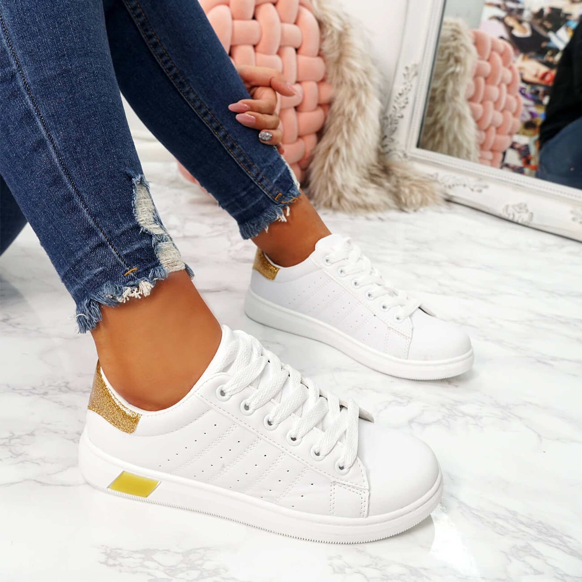womens white gold lace-up platform trainers sneakers size uk 3 4 5 6 7 8