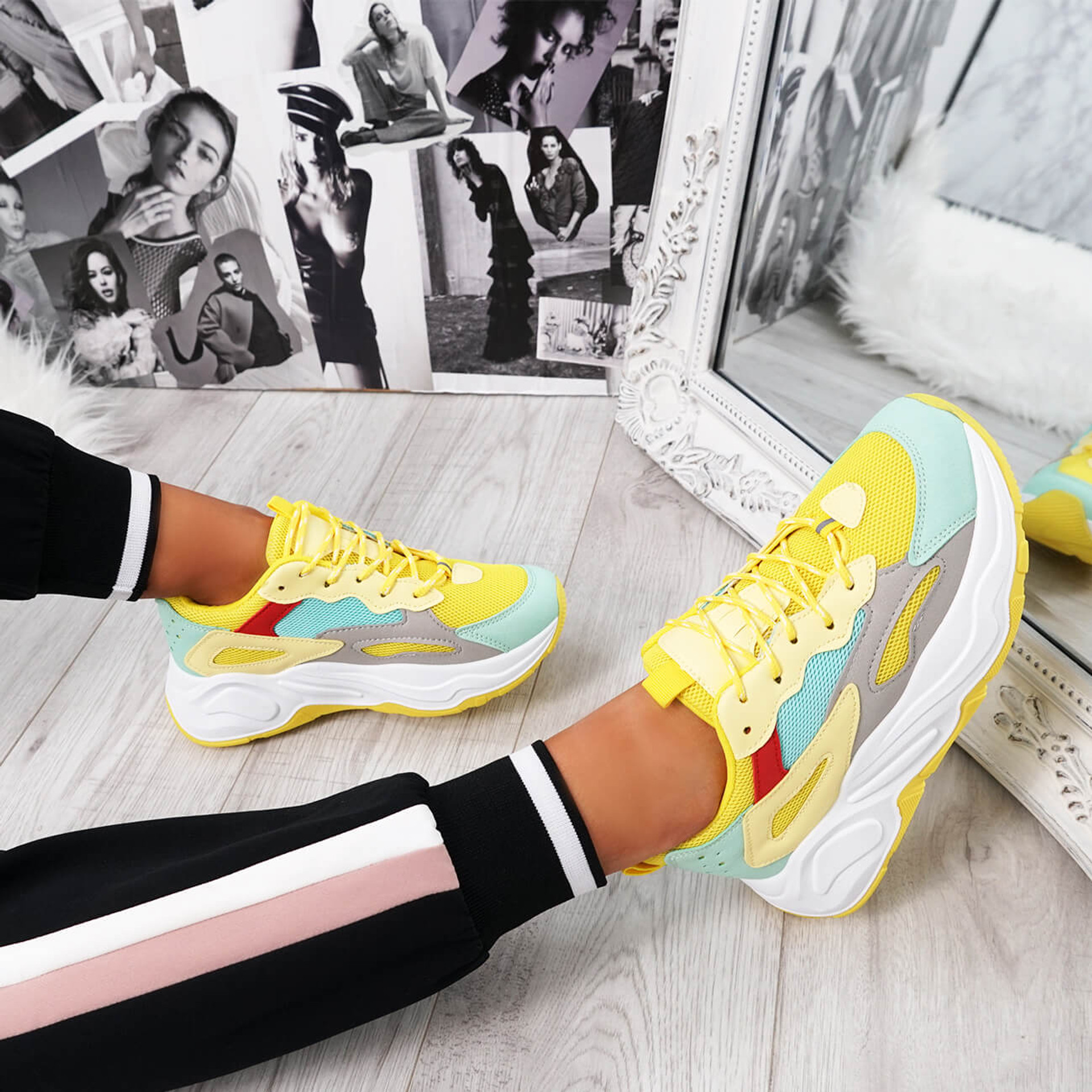 Mony Yellow Chunky Sole Trainers
