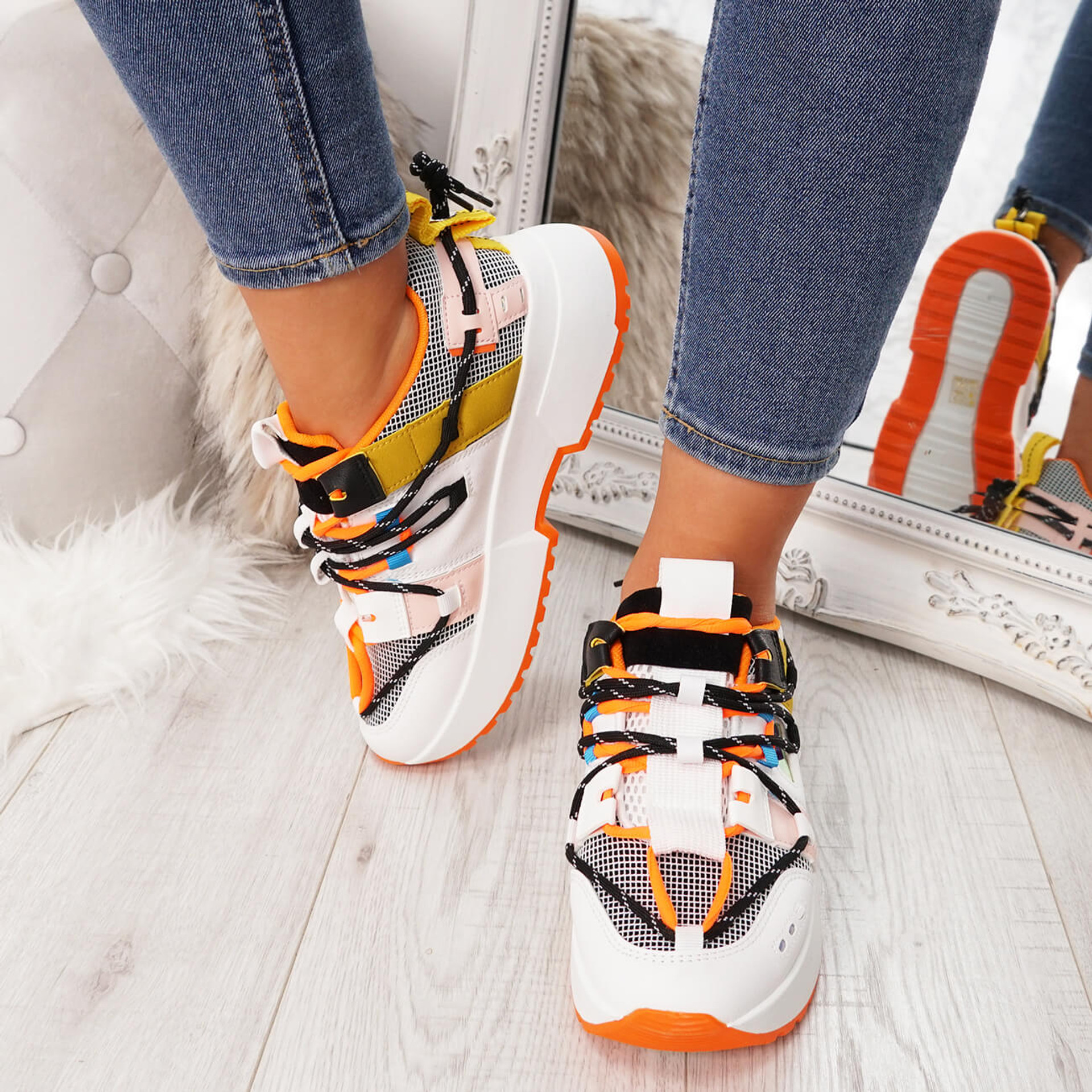 Women Sport Sneakers Ladies Womens Orange White Chunky Sole Trainers Platform Party Shoes Size Uk 3 4 5 6 7 8 - Buy Now Pay Later with Klarna