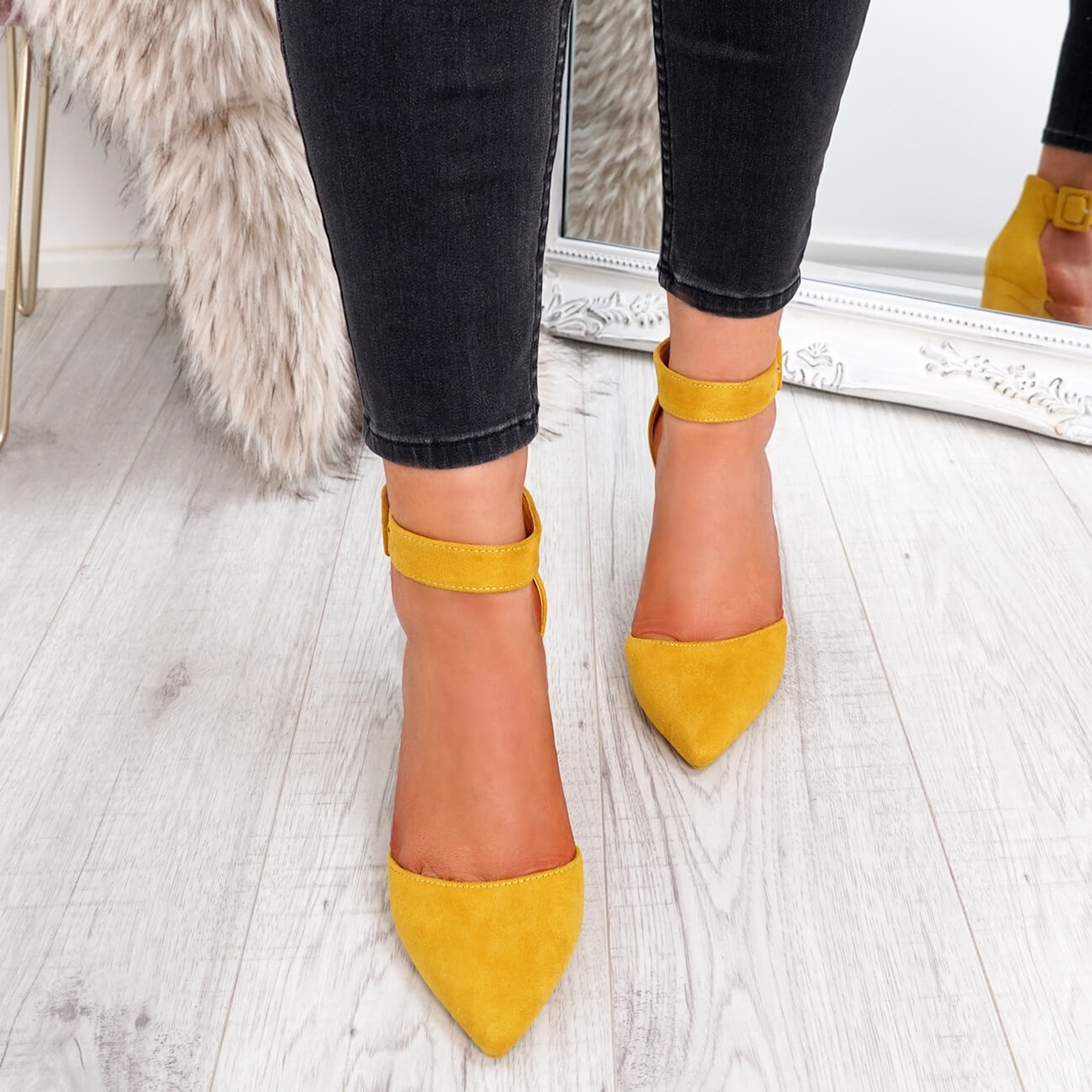 Temma Yellow Pointed Block Heel Pumps