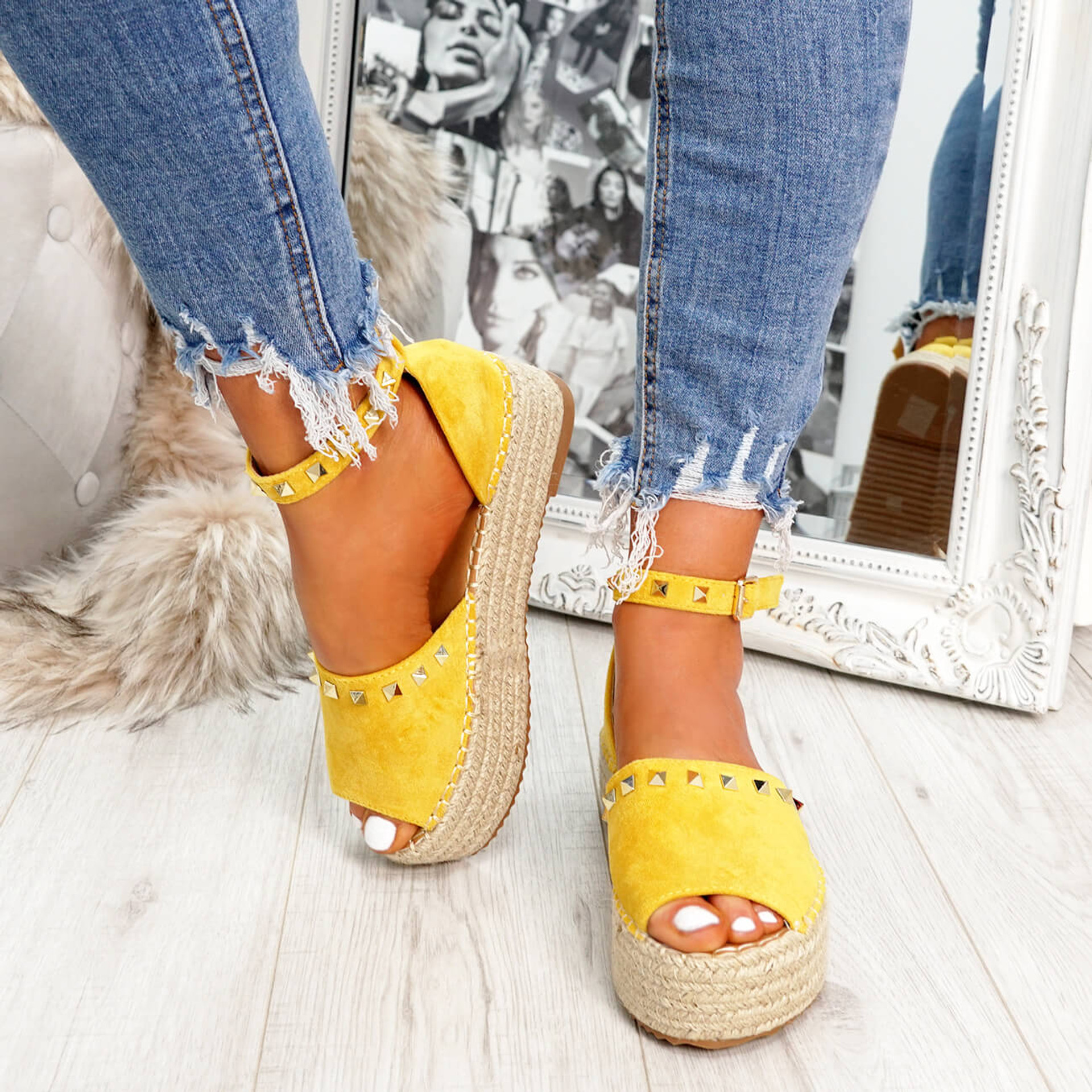 Womens Ladies Yellow Summer Party Sandals Fashion Flatform Platforms Rock Stud Ankle Strap High Heels Shoes Size Uk 3 4 5 6 7 8
