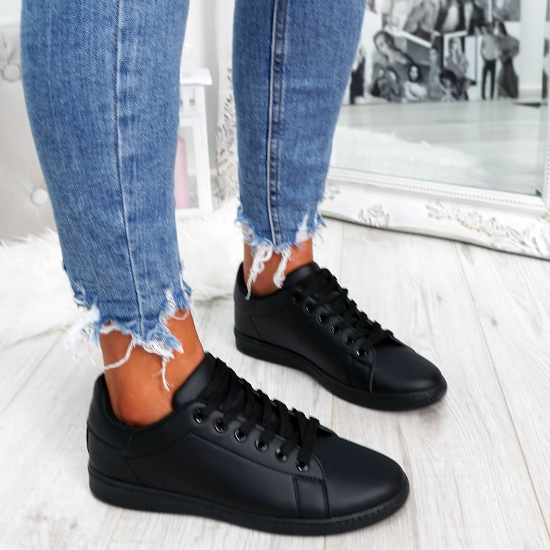 Black lace-up trainers for womens size uk 3 4 5 6 7 8