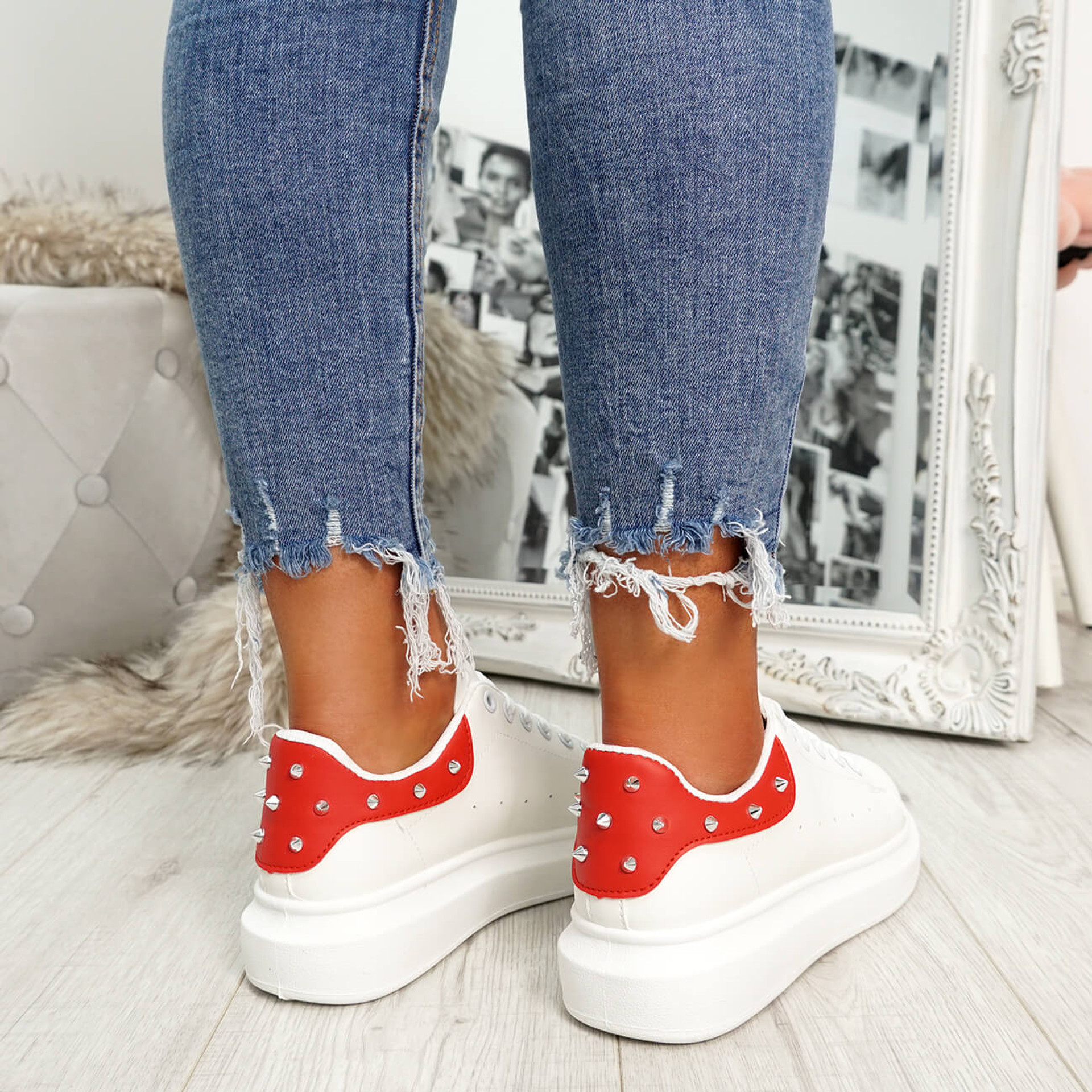White red rock studs lace-up trainers for womens size uk 3 4 5 6 7 8