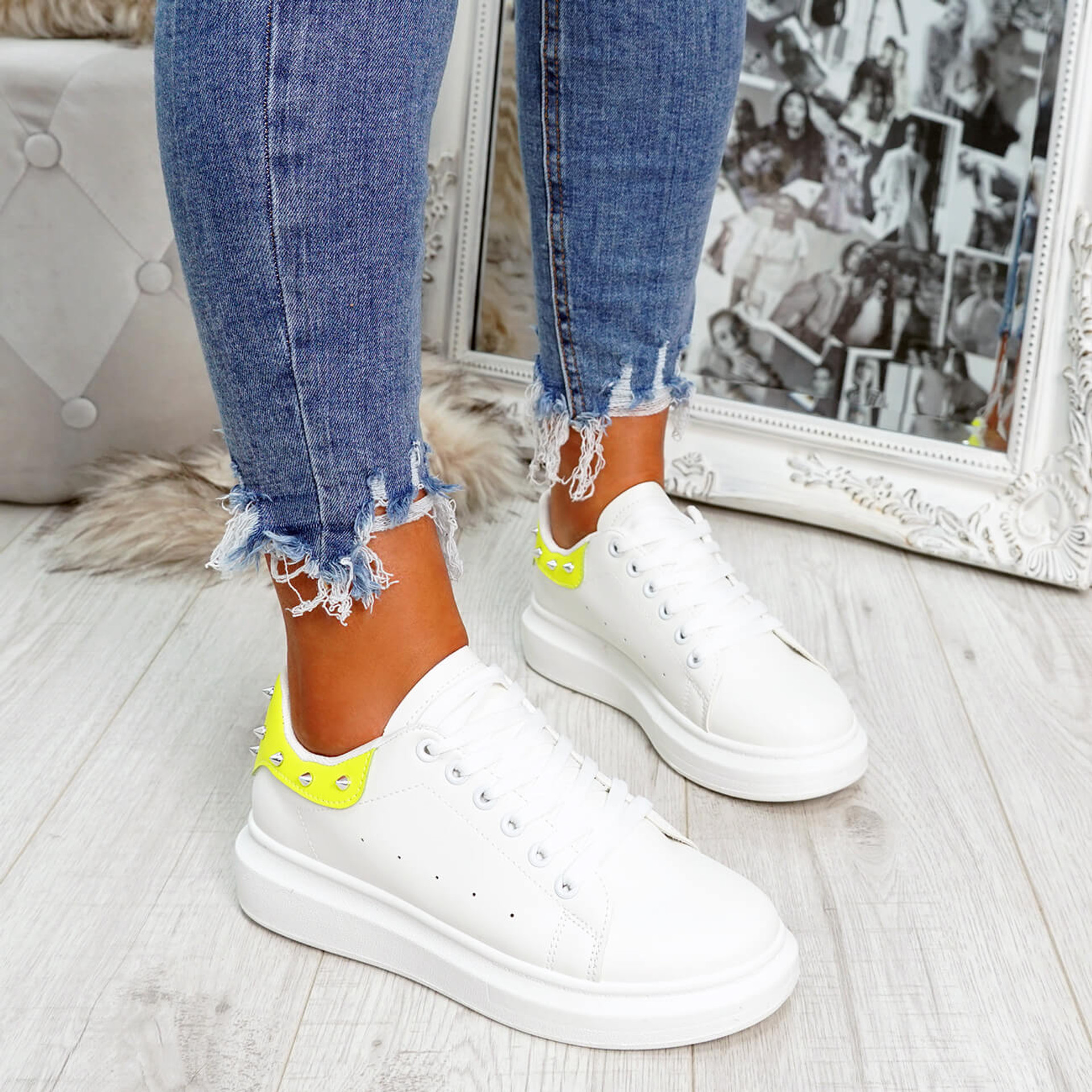 White yellow rock studs lace-up trainers for womens size uk 3 4 5 6 7 8