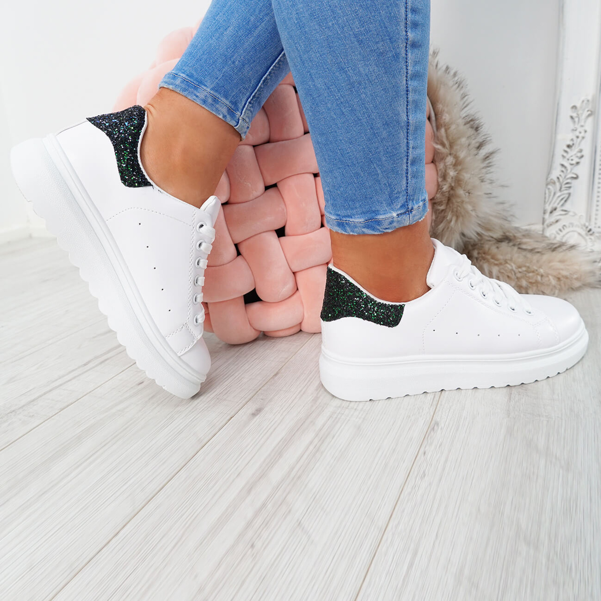 White black glitter lace-up trainers for womens size uk 3 4 5 6 7 8