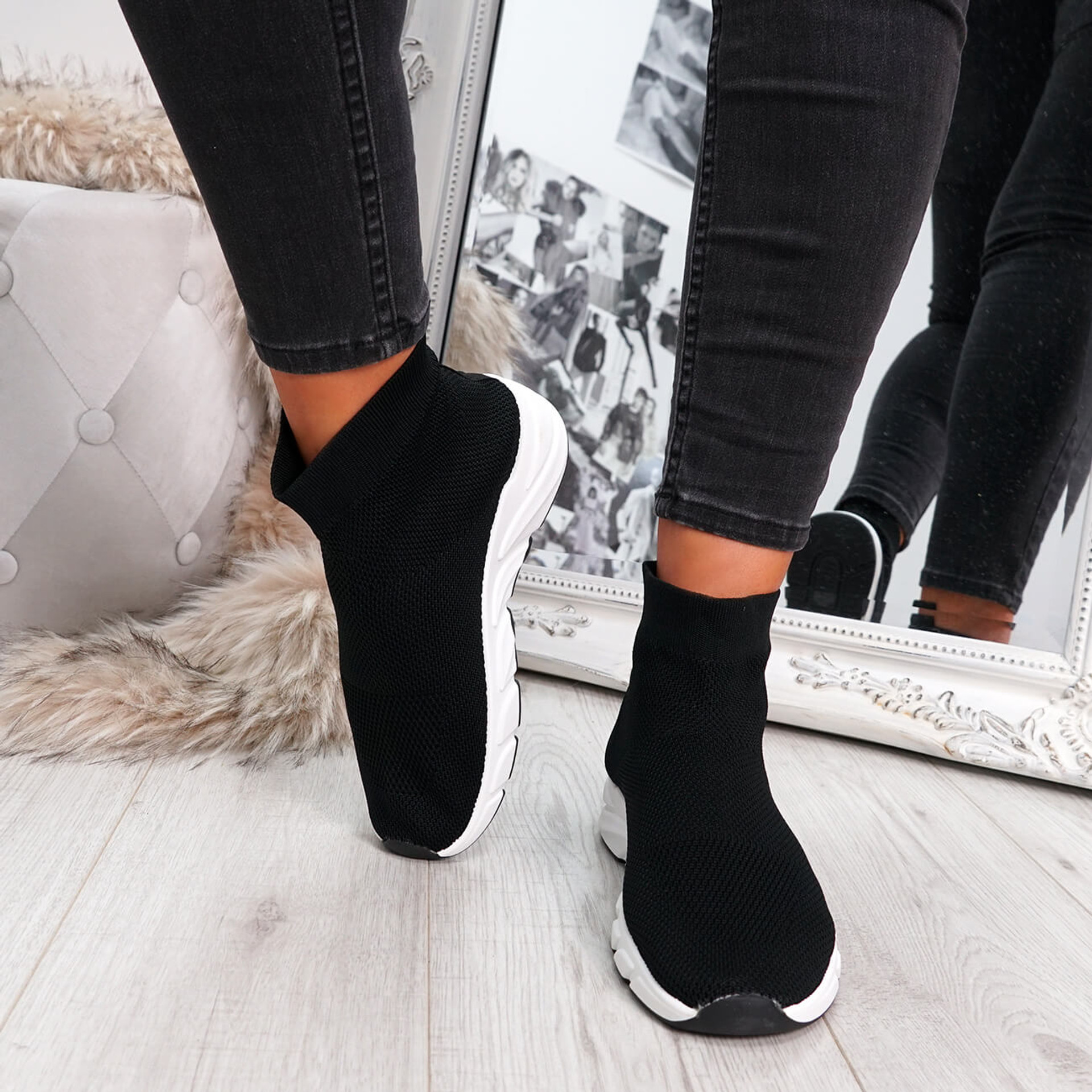 Black sock sneakers trainers for womens size uk 3 4 5 6 7 8