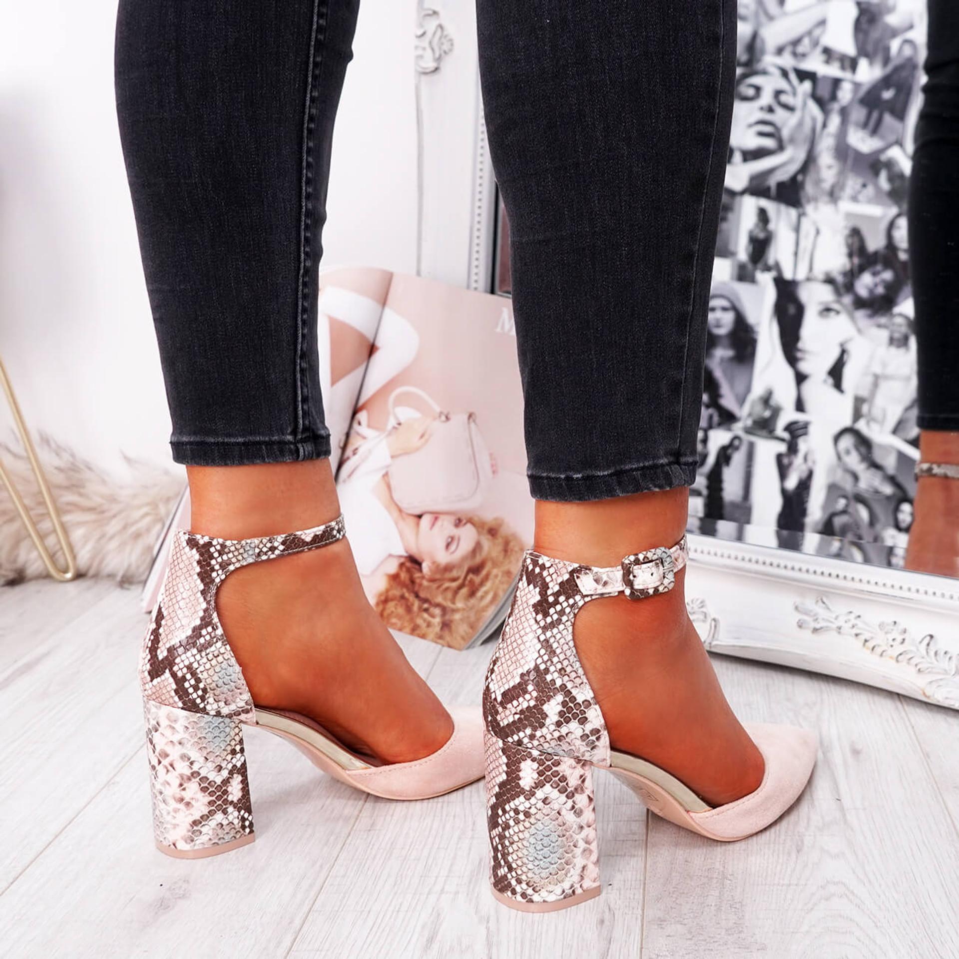Nude snake pattern block heel pumps for womens size uk 3 4 5 6 7 8