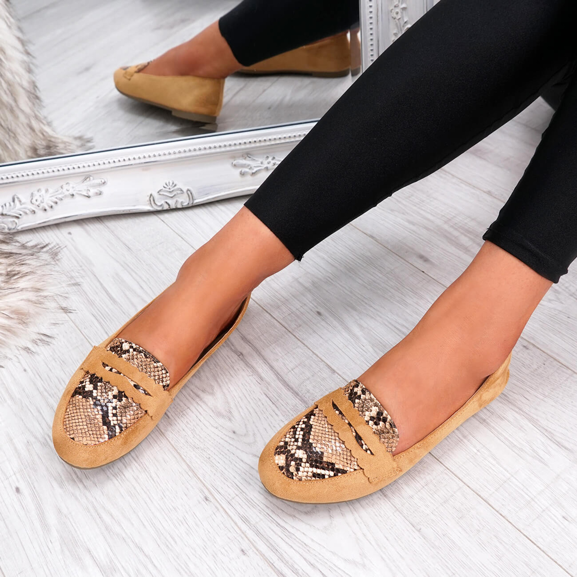 womens camel color slip on snake animal pattern ballerinas size uk 3 4 5 6 7 8