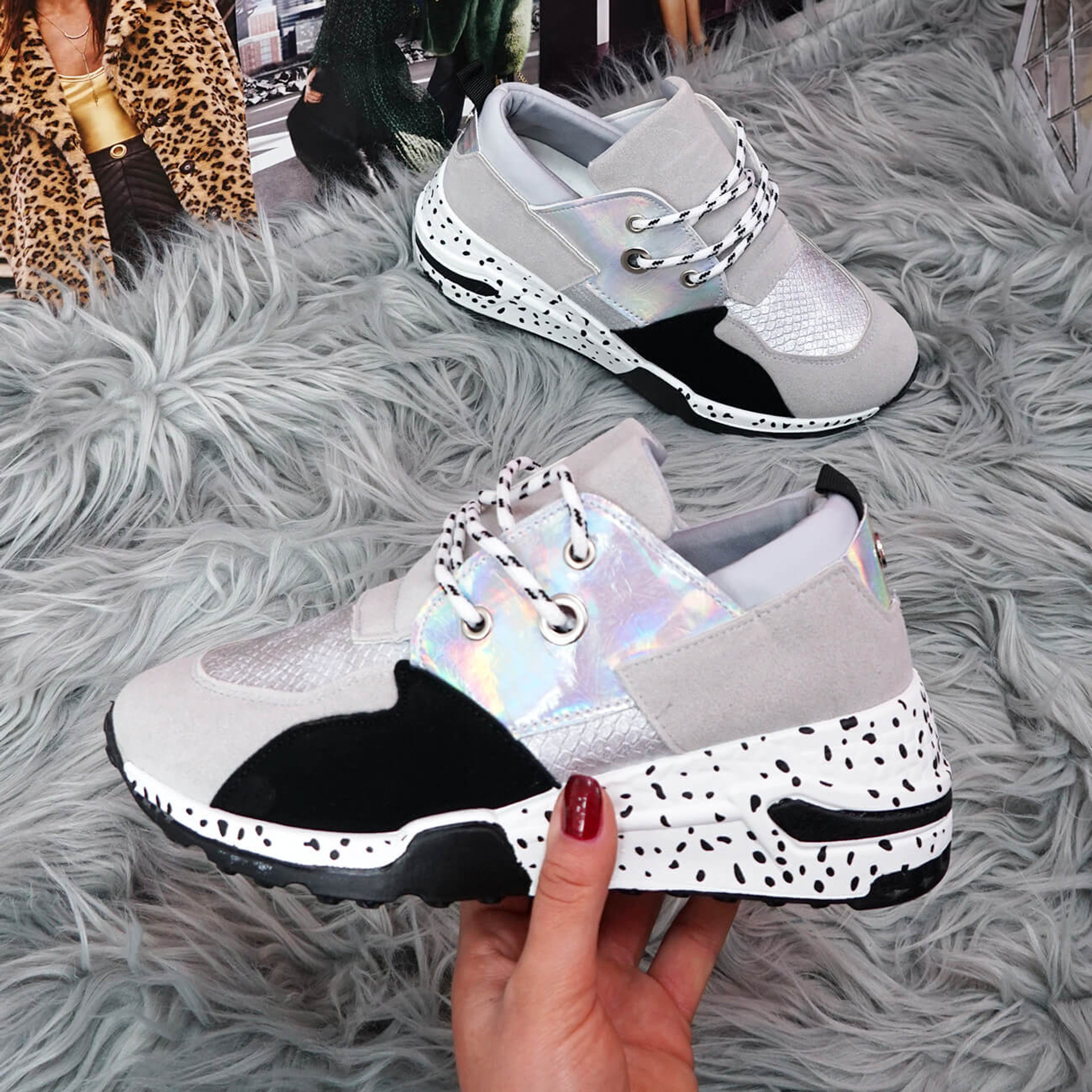 womens grey black white shiny lace-up platform trainers sneakers with snake pattern size uk 3 4 5 6 7 8