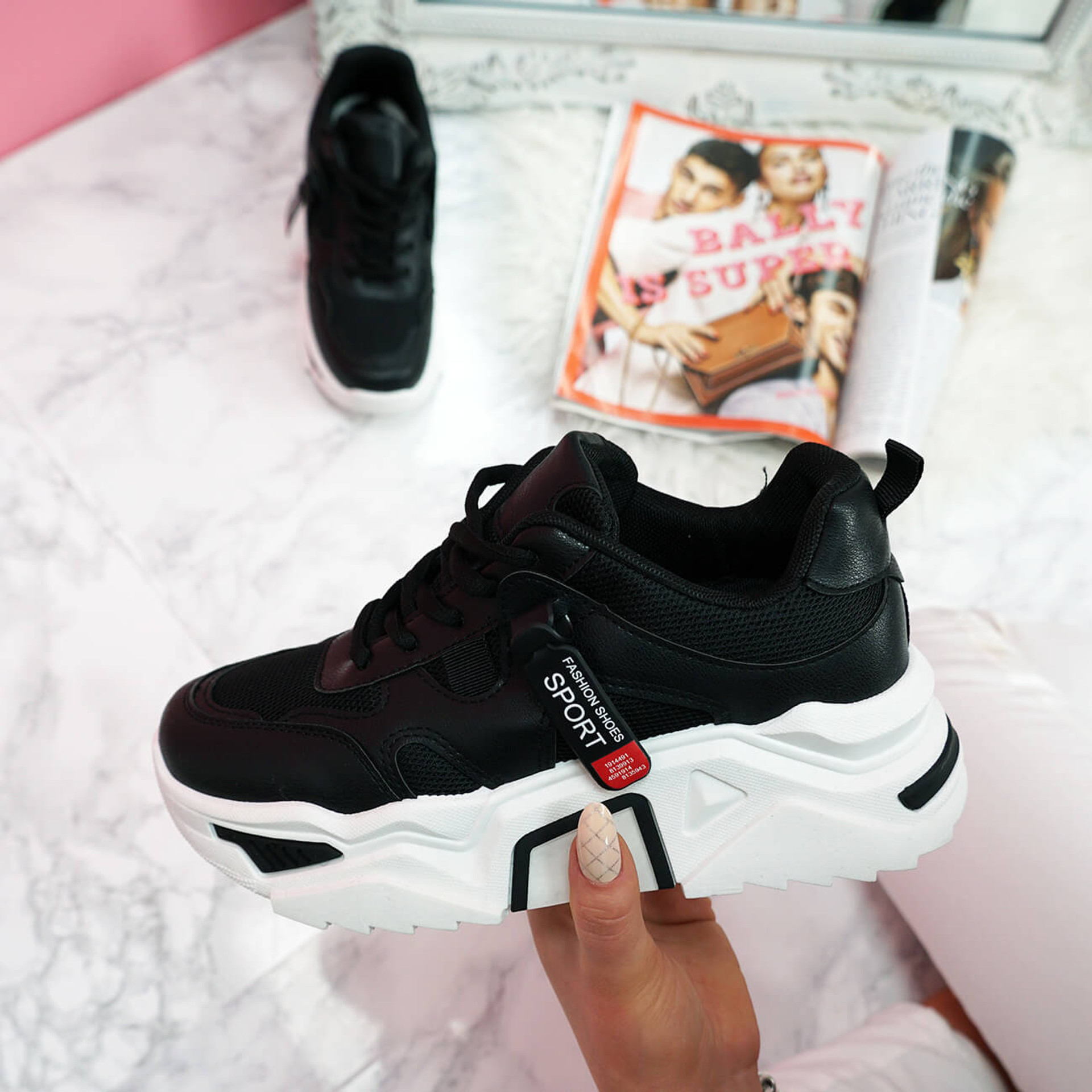 womens black and white lace-up platform trainers sneakers size uk 3 4 5 6 7 8