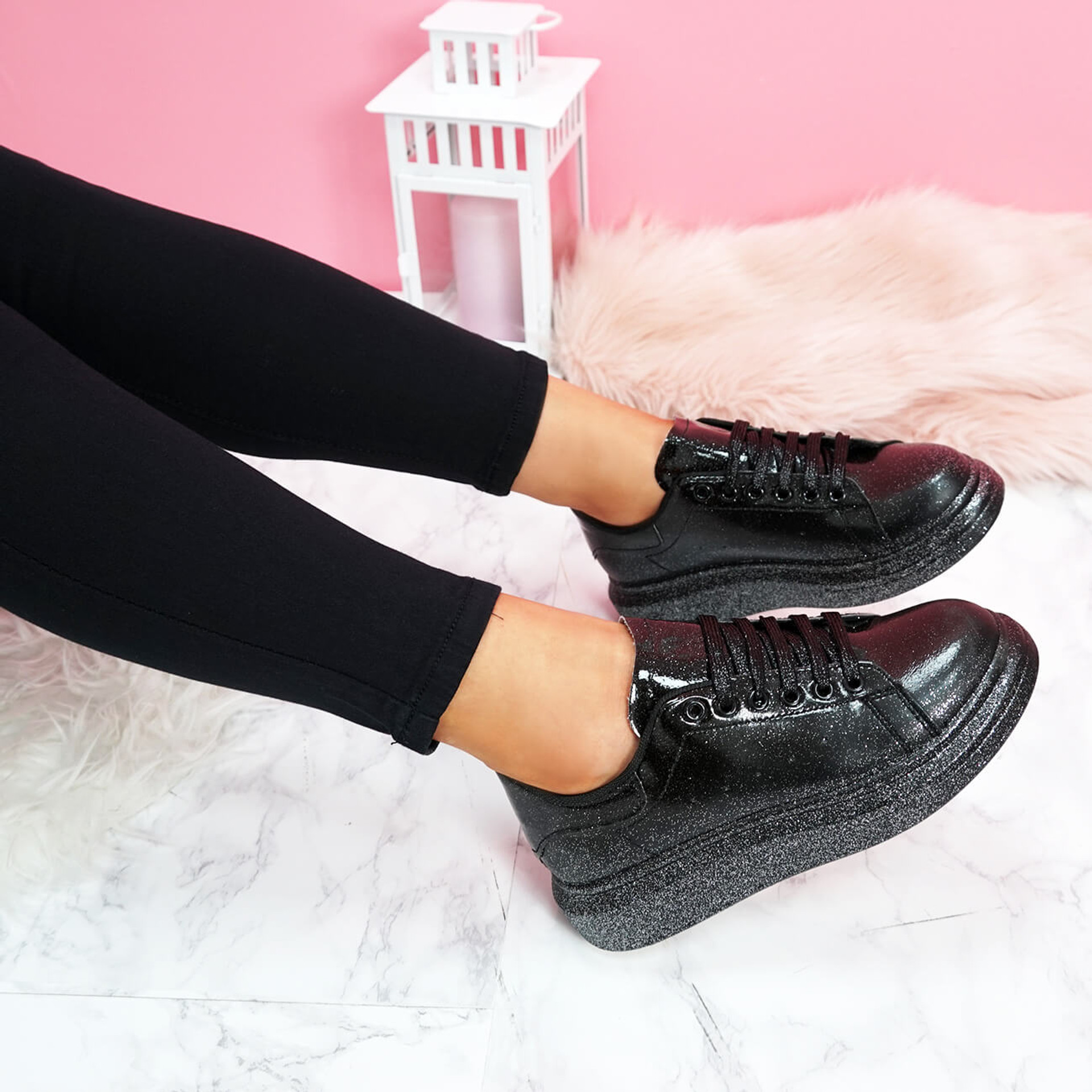 womens black glitter lace-up platform trainers sneakers size uk 3 4 5 6 7 8