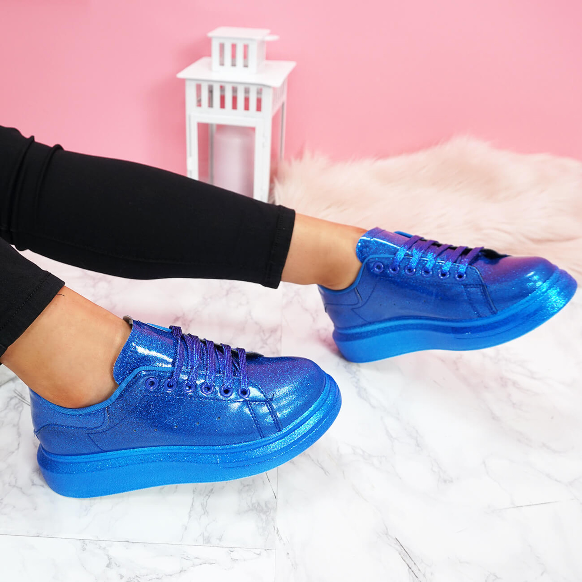 womens blue glitter lace-up platform trainers sneakers size uk 3 4 5 6 7 8