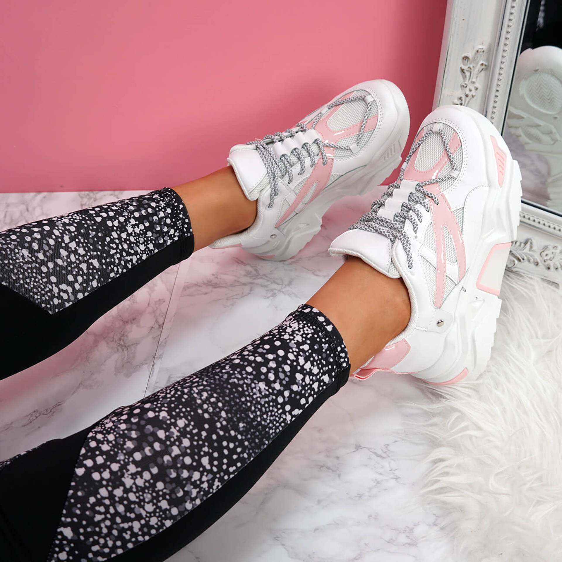 womens white pink lace-up chunky trainers sneakers size uk 3 4 5 6 7 8