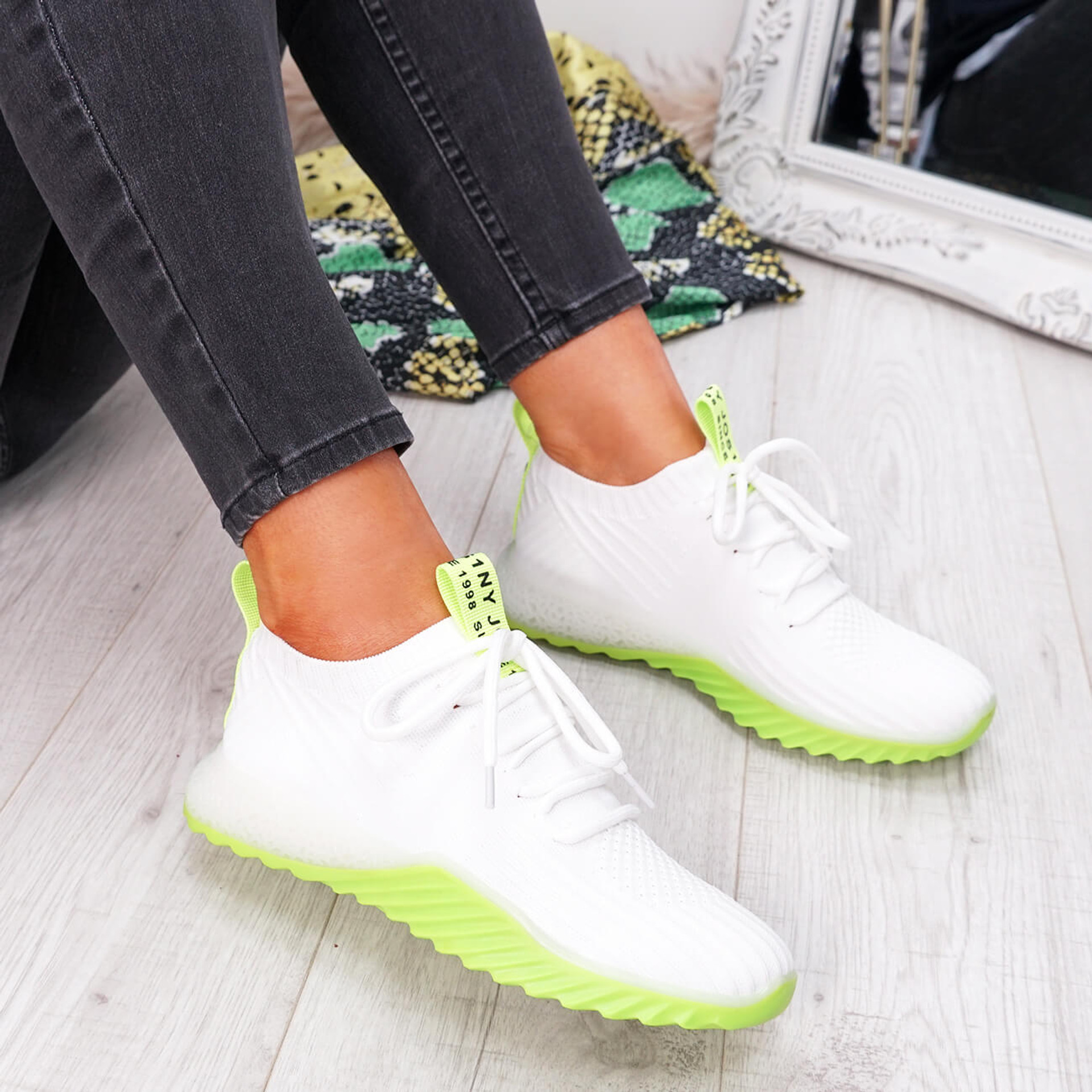 womens white green lace-up running trainers sneakers mesh size uk 3 4 5 6 7 8