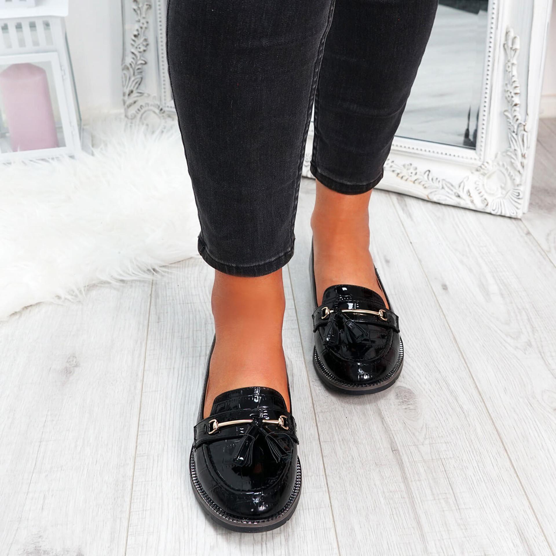 womens black croc pattern fringes ballerinas size uk 3 4 5 6 7 8