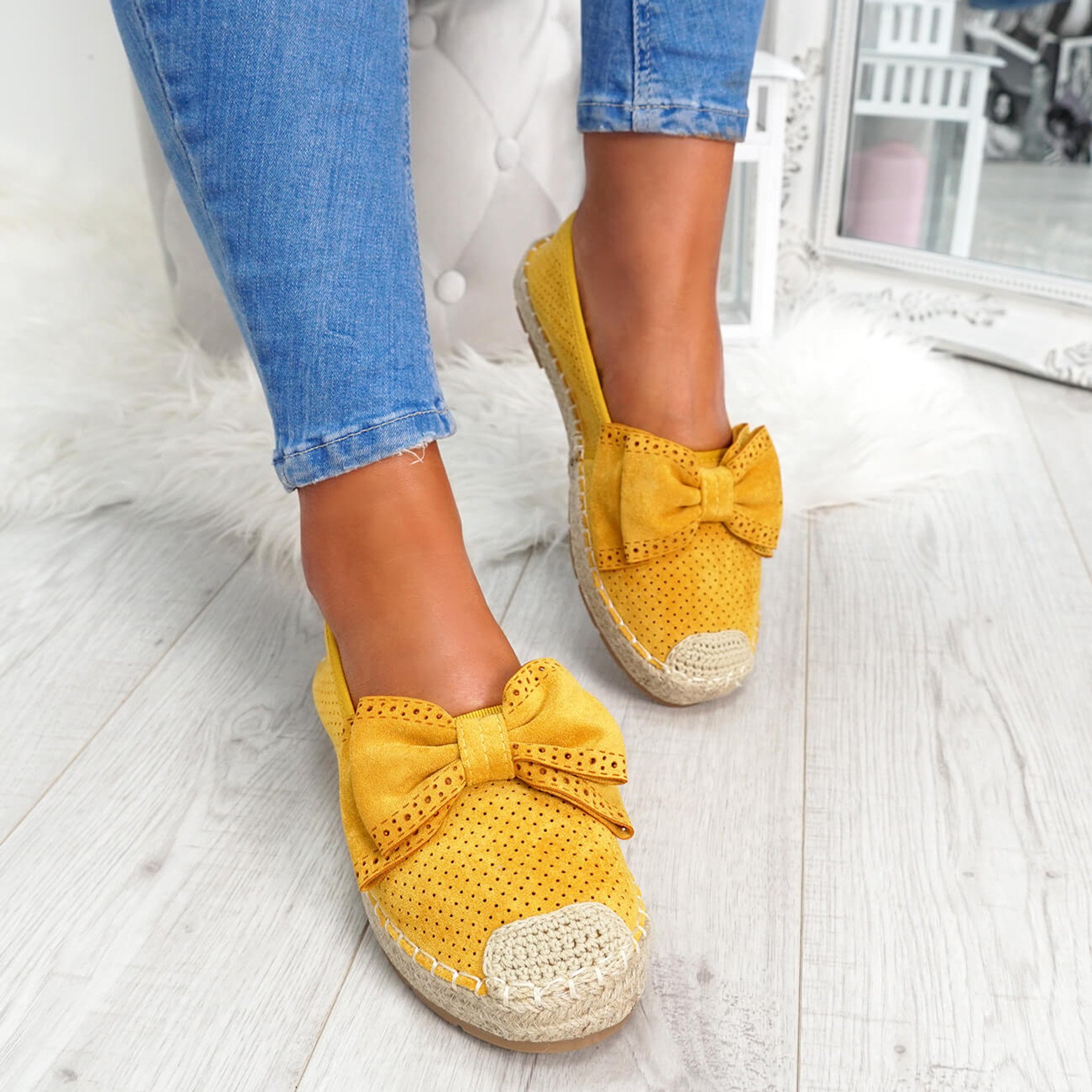 womens yellow bow espadrille ballerinas size uk 3 4 5 6 7 8