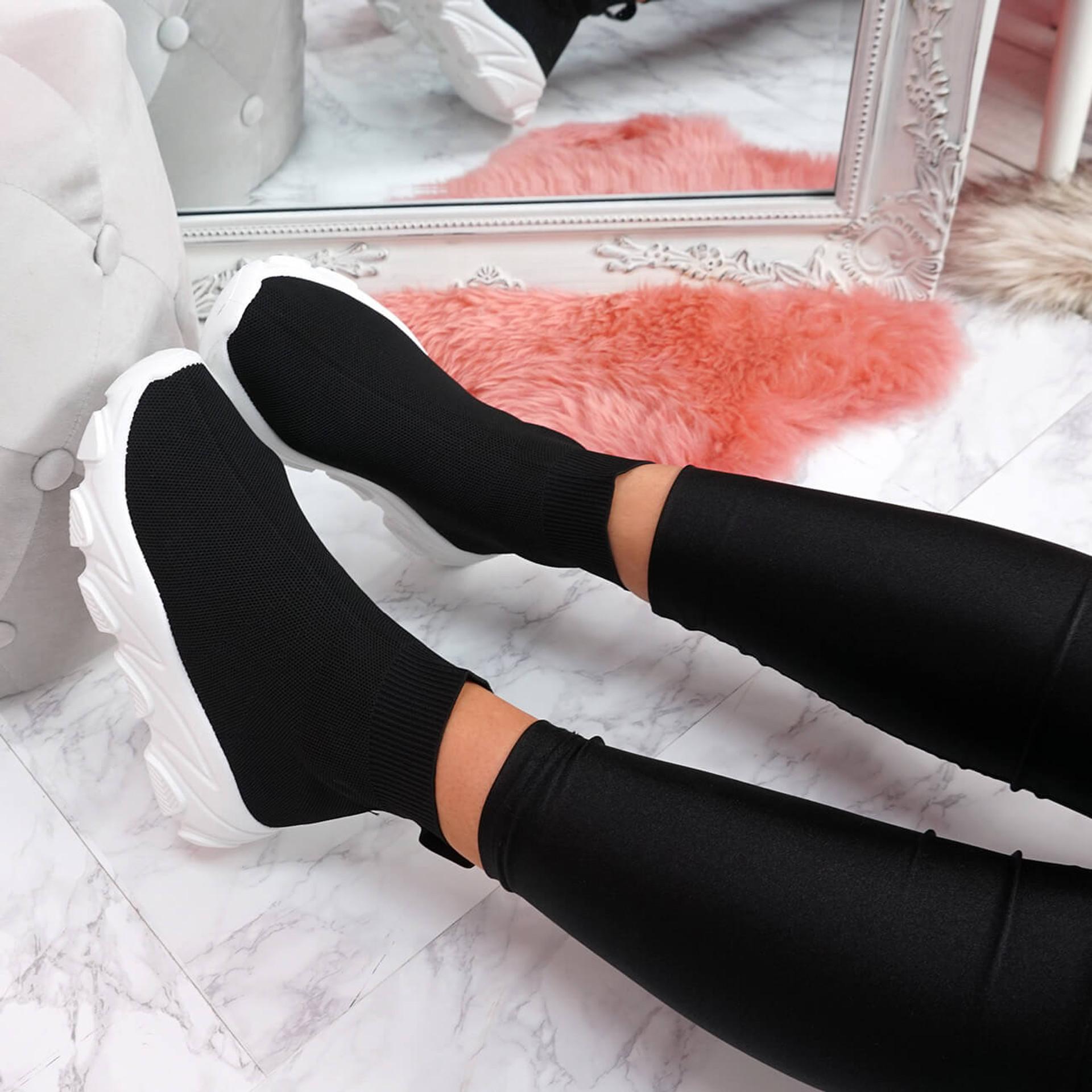 Evra Black Sock Sneakers