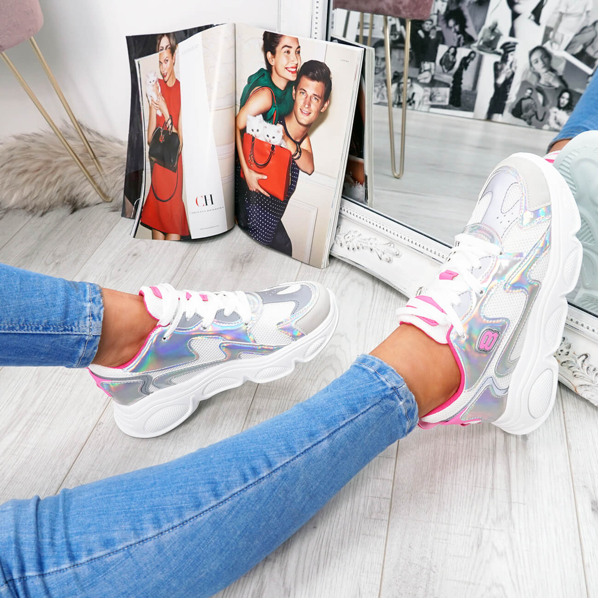 womens shiny rose orange lace-up trainers chunky sole size uk 3 4 5 6 7 8